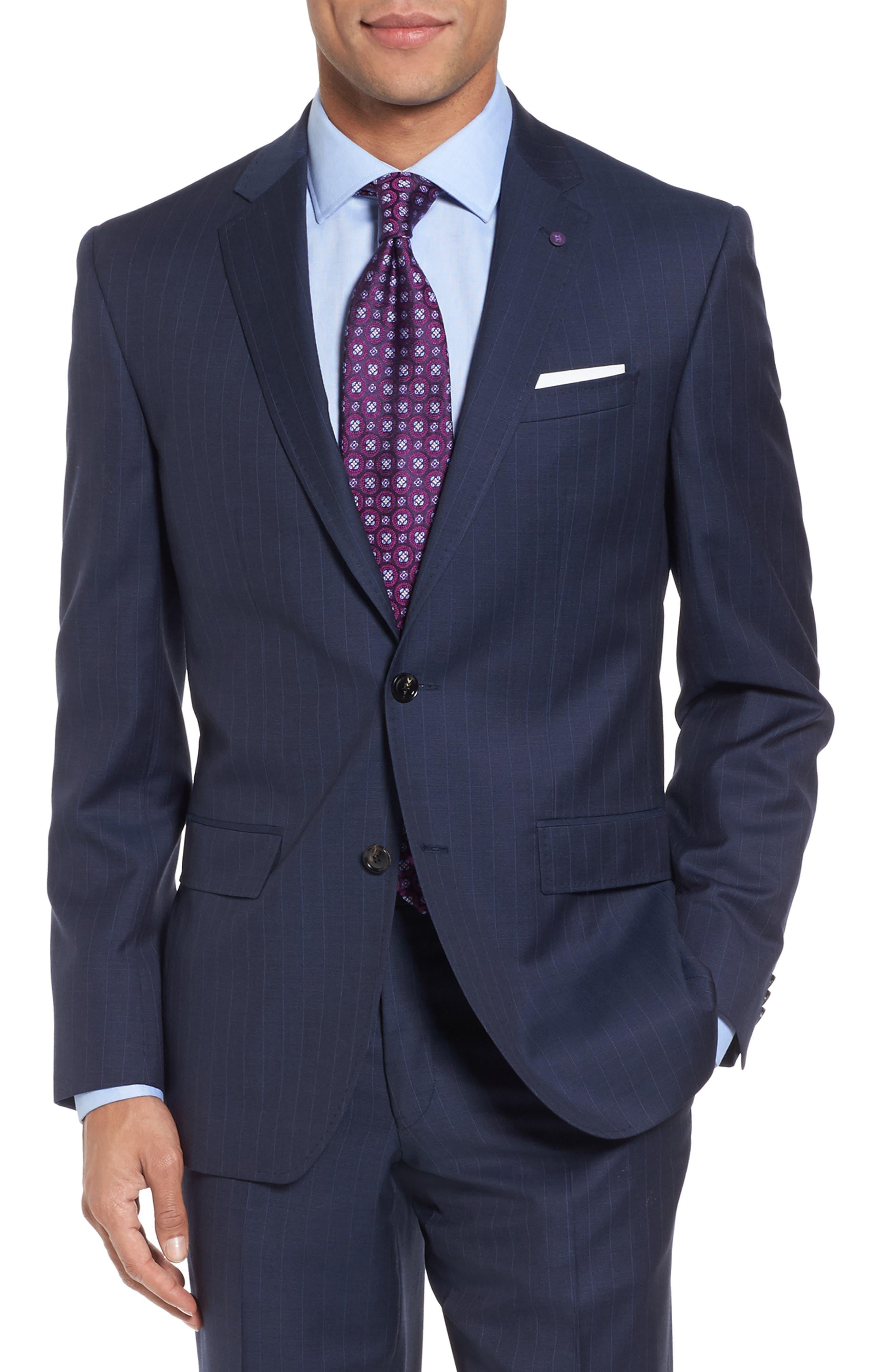 Jay Trim Fit Stripe Wool Suit,                             Alternate thumbnail 5, color,                             400
