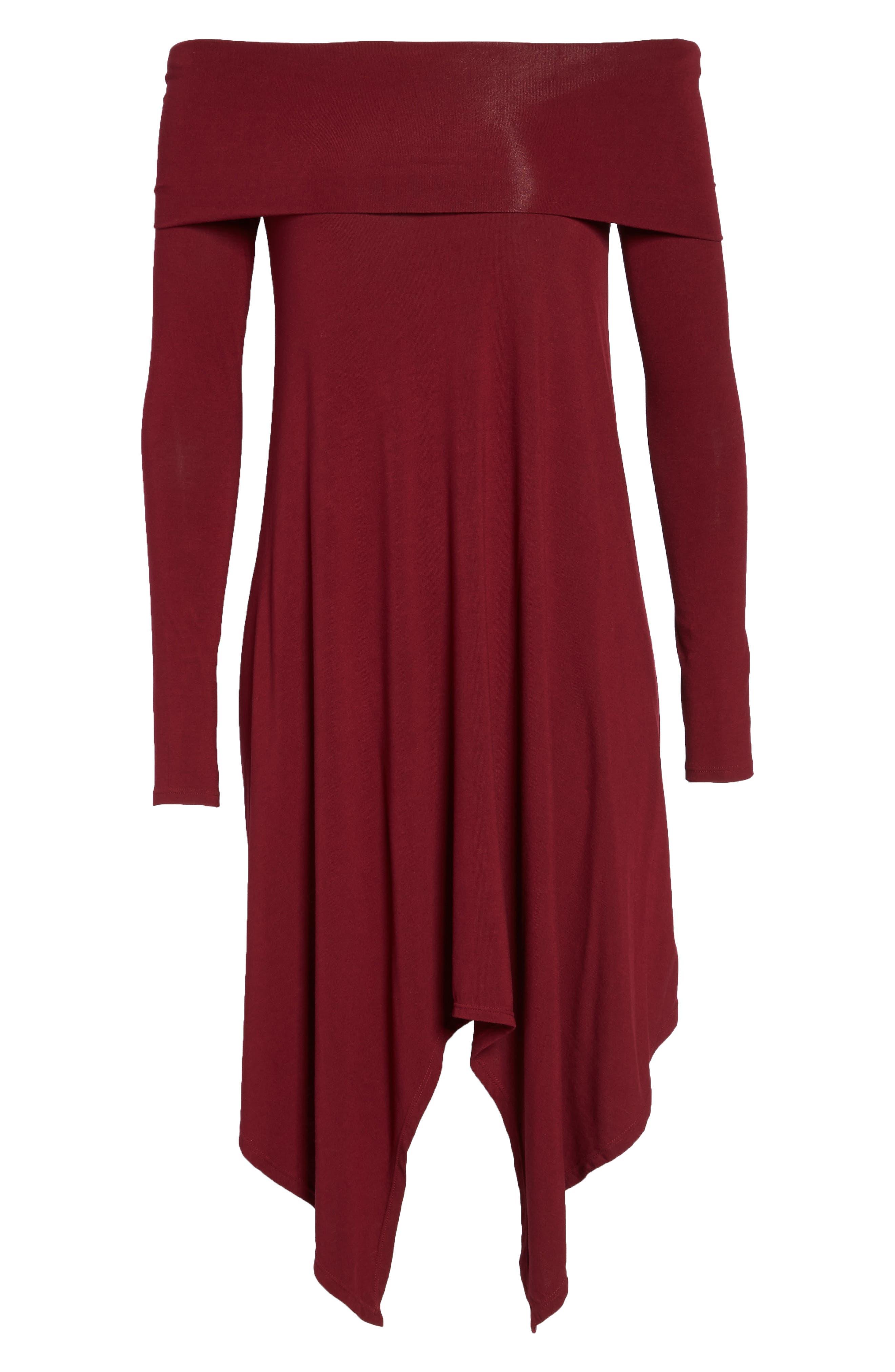 Off the Shoulder Knit A-Line Dress,                             Alternate thumbnail 6, color,                             600