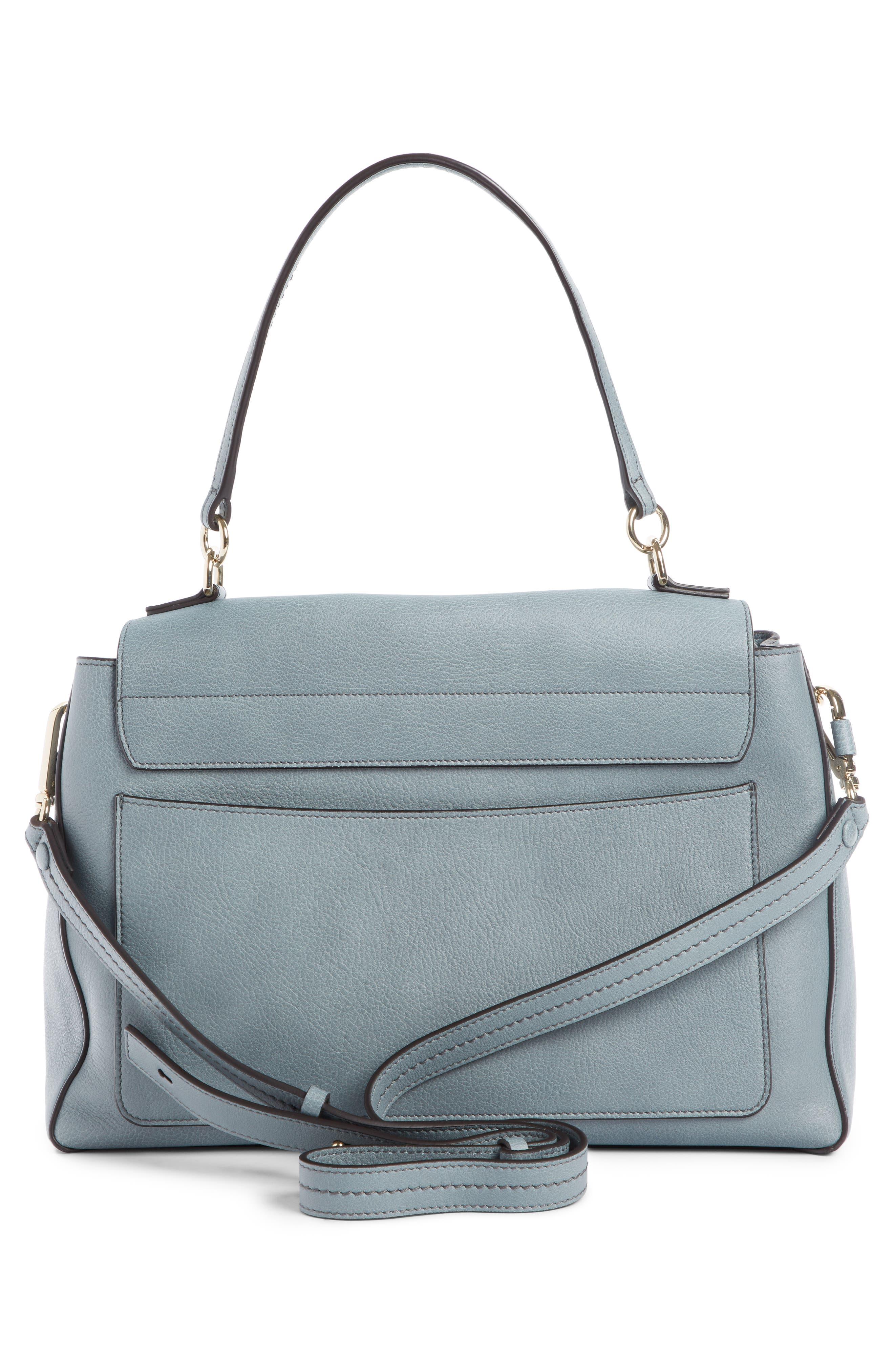 Medium Faye Leather Shoulder Bag,                             Alternate thumbnail 3, color,                             CLOUDY BLUE