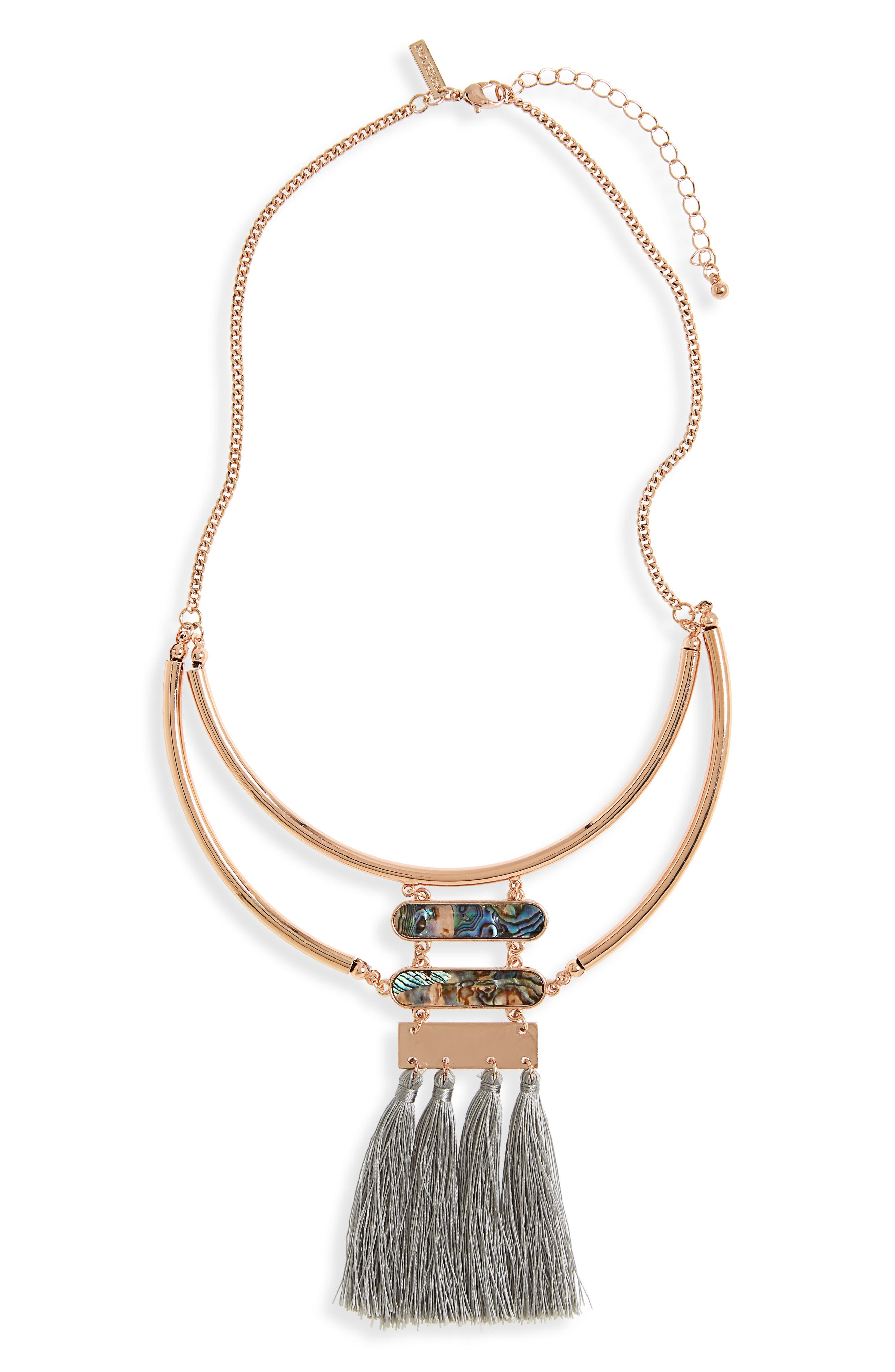Abalone & Tassel Bib Necklace,                         Main,                         color,