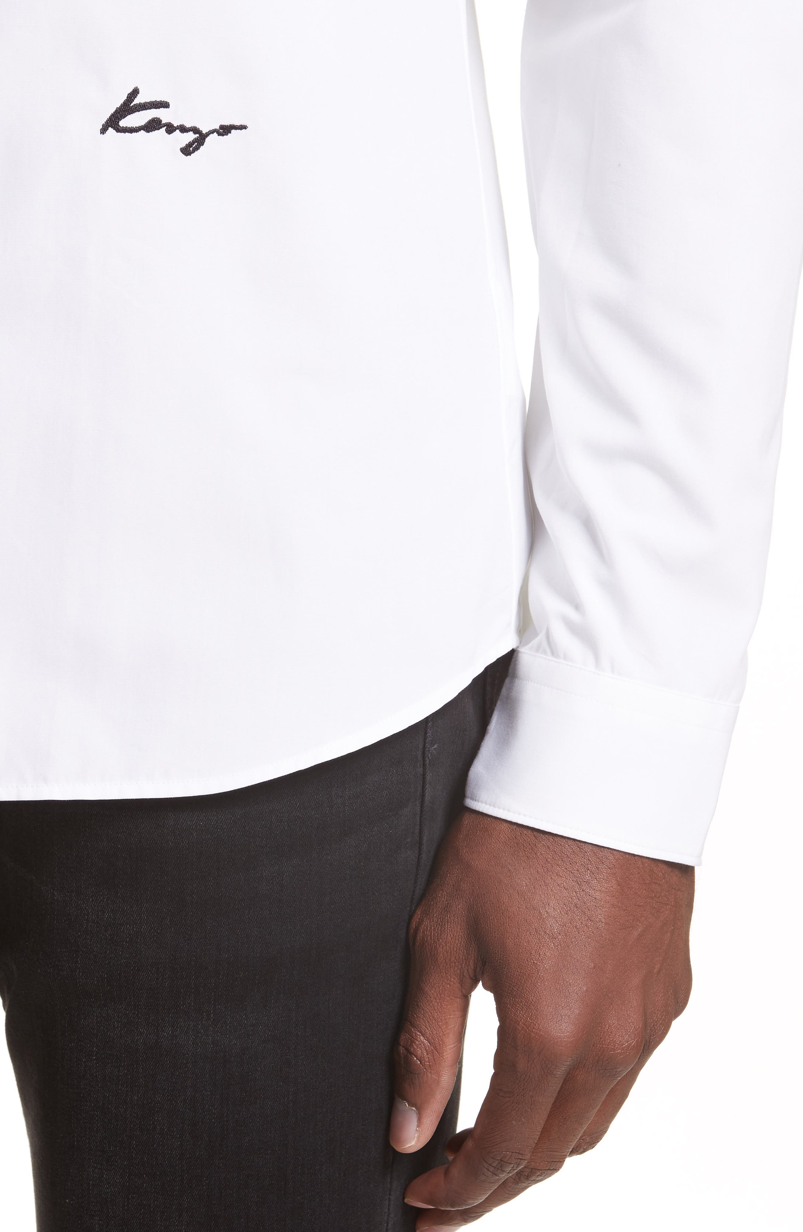Slim Fit Embroidered Shirt,                             Alternate thumbnail 5, color,                             WHITE