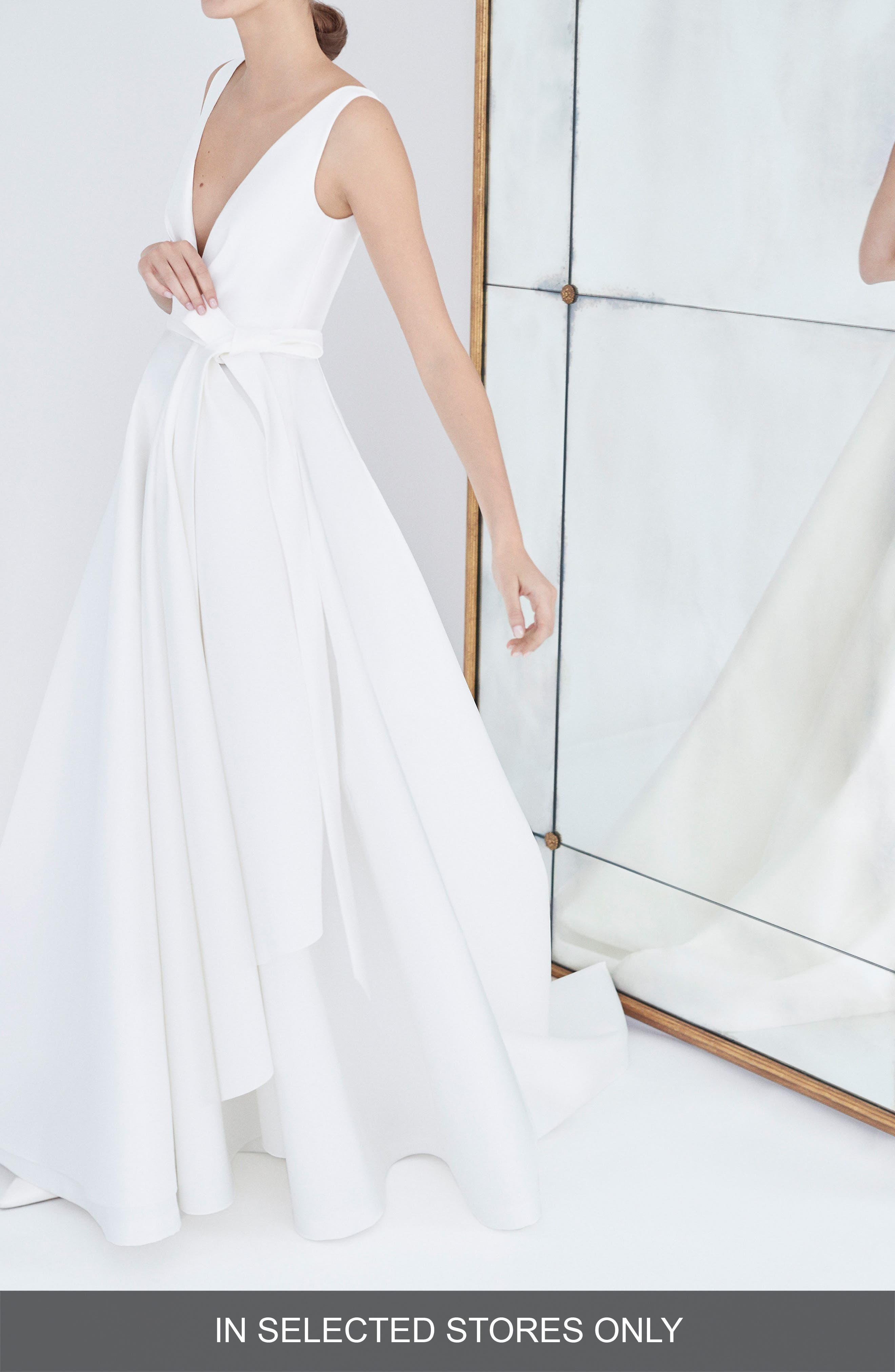 Gardenia Mikado Side Drape Gown,                         Main,                         color, SILK WHITE