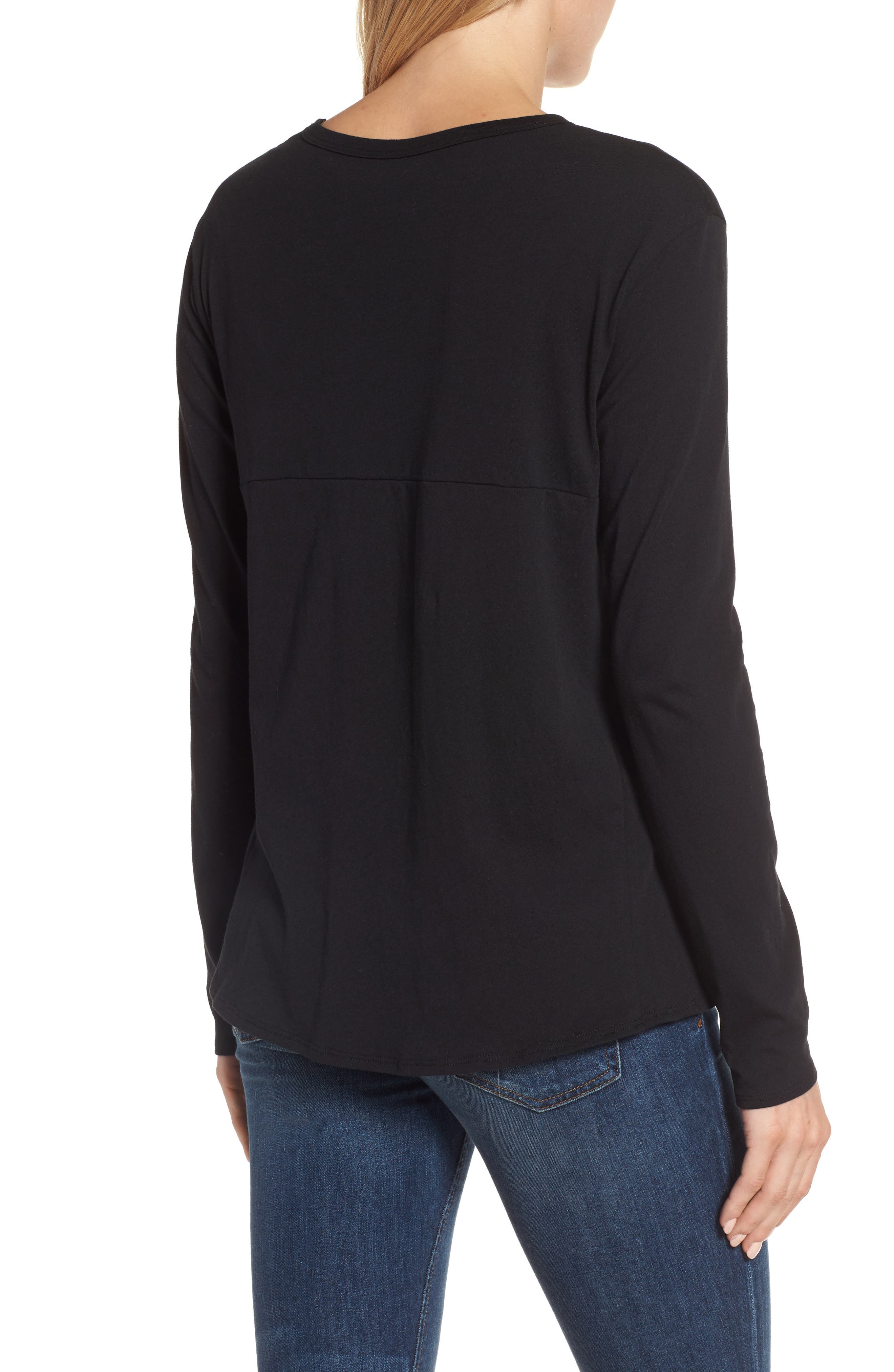 Long Sleeve Side Tie Tee,                             Alternate thumbnail 7, color,