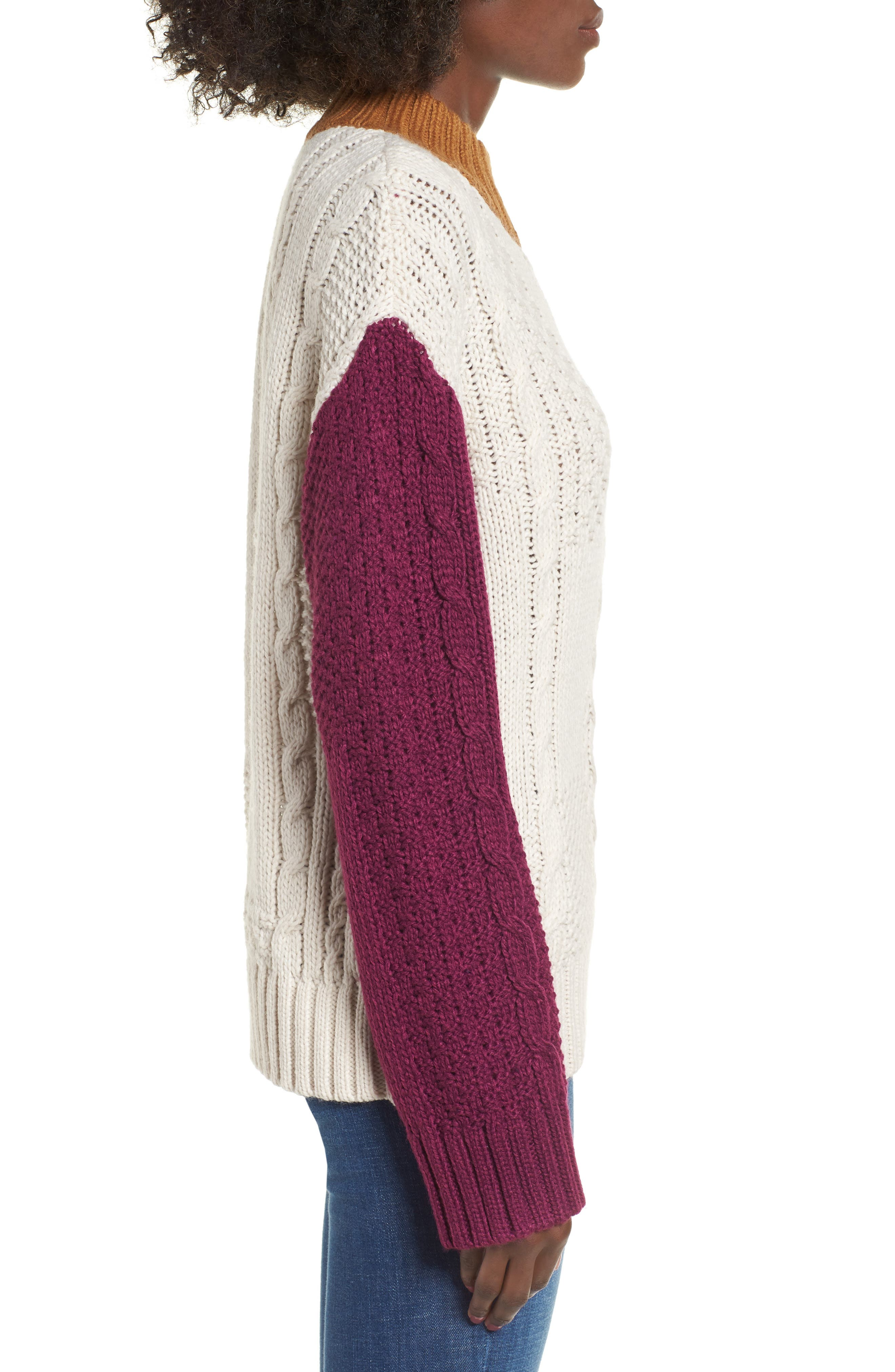 Colorblock Cable Knit Pullover,                             Alternate thumbnail 4, color,                             270
