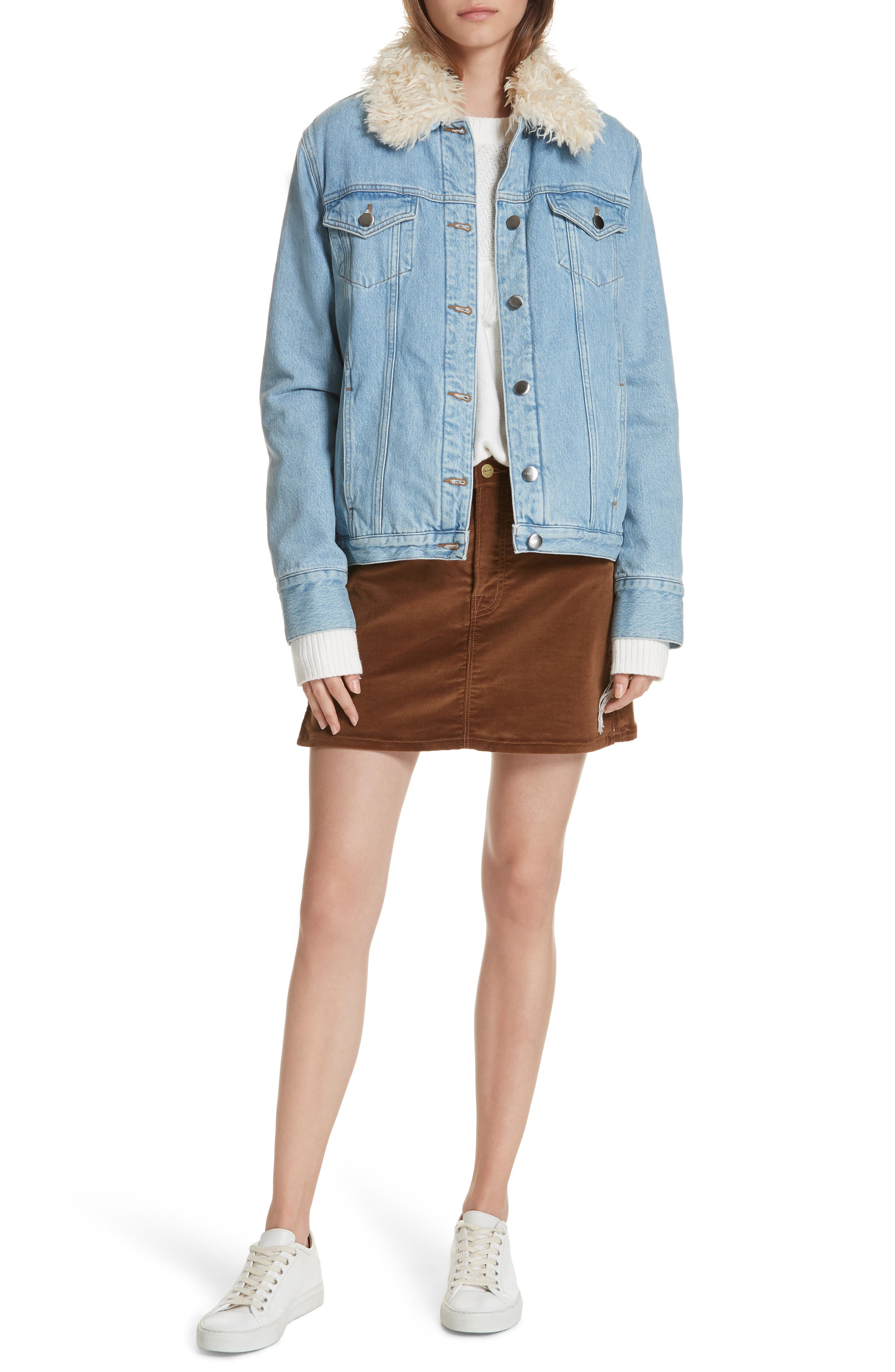 Le Curly Faux Shearling Collar Denim Jacket,                             Alternate thumbnail 8, color,                             MONROE
