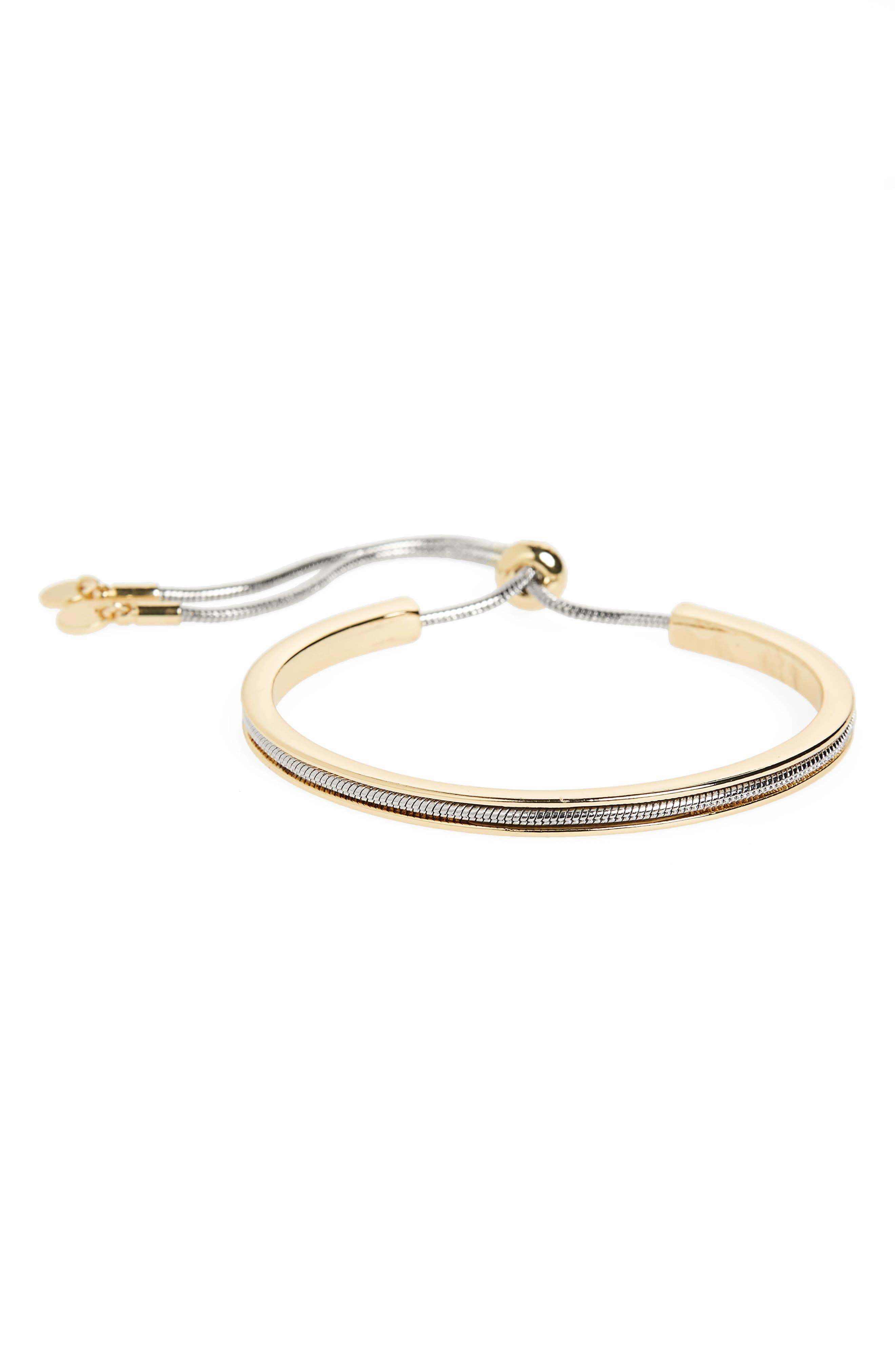 Chain & Metal Bar Bolo Bracelet,                             Main thumbnail 1, color,