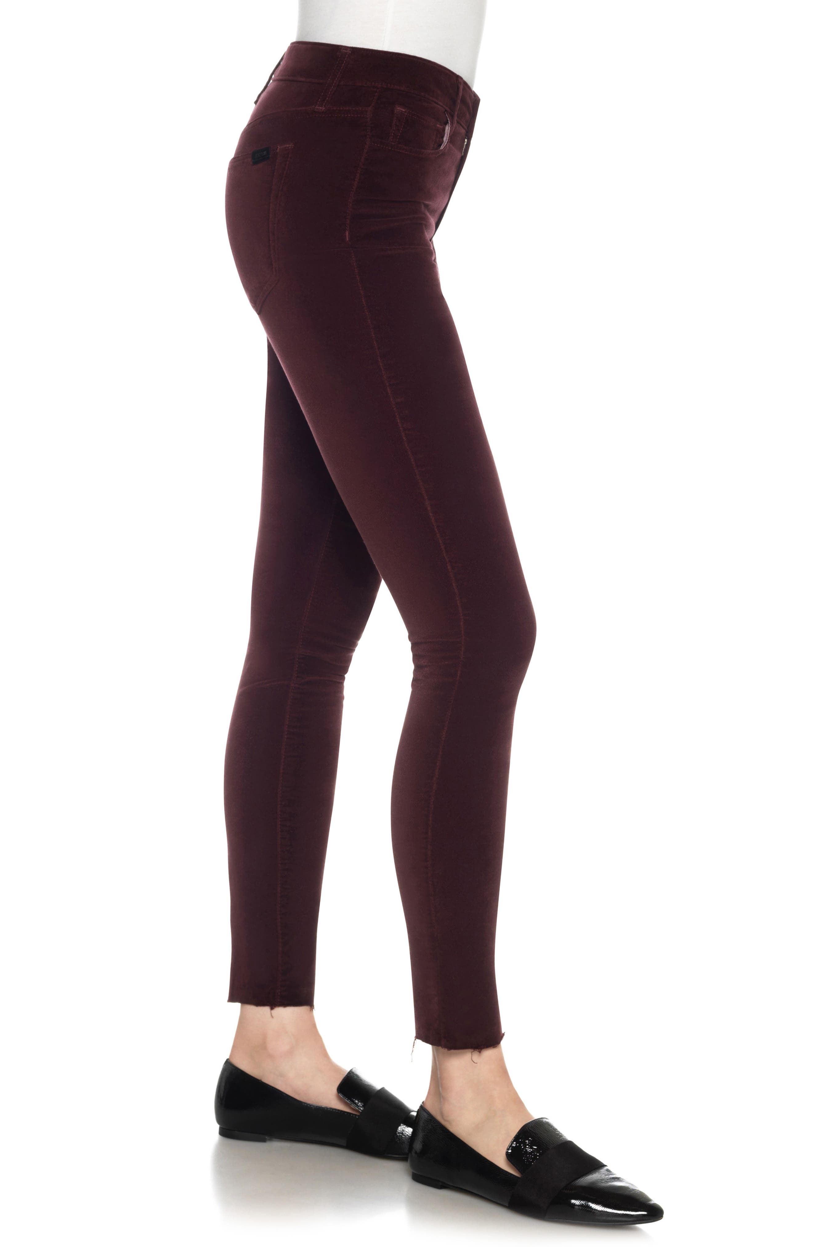 Icon Velvet Ankle Skinny Pants,                             Alternate thumbnail 12, color,