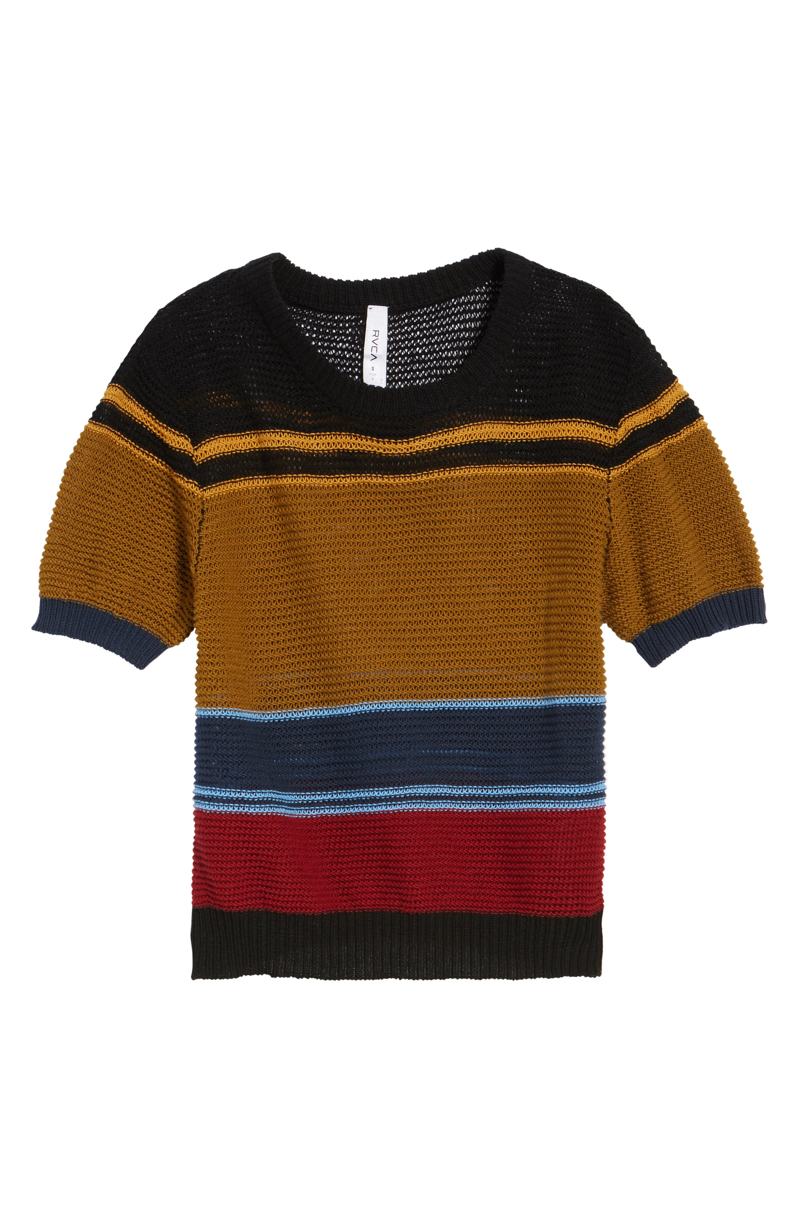 Brightside Stripe Knit Sweater,                             Alternate thumbnail 6, color,                             001