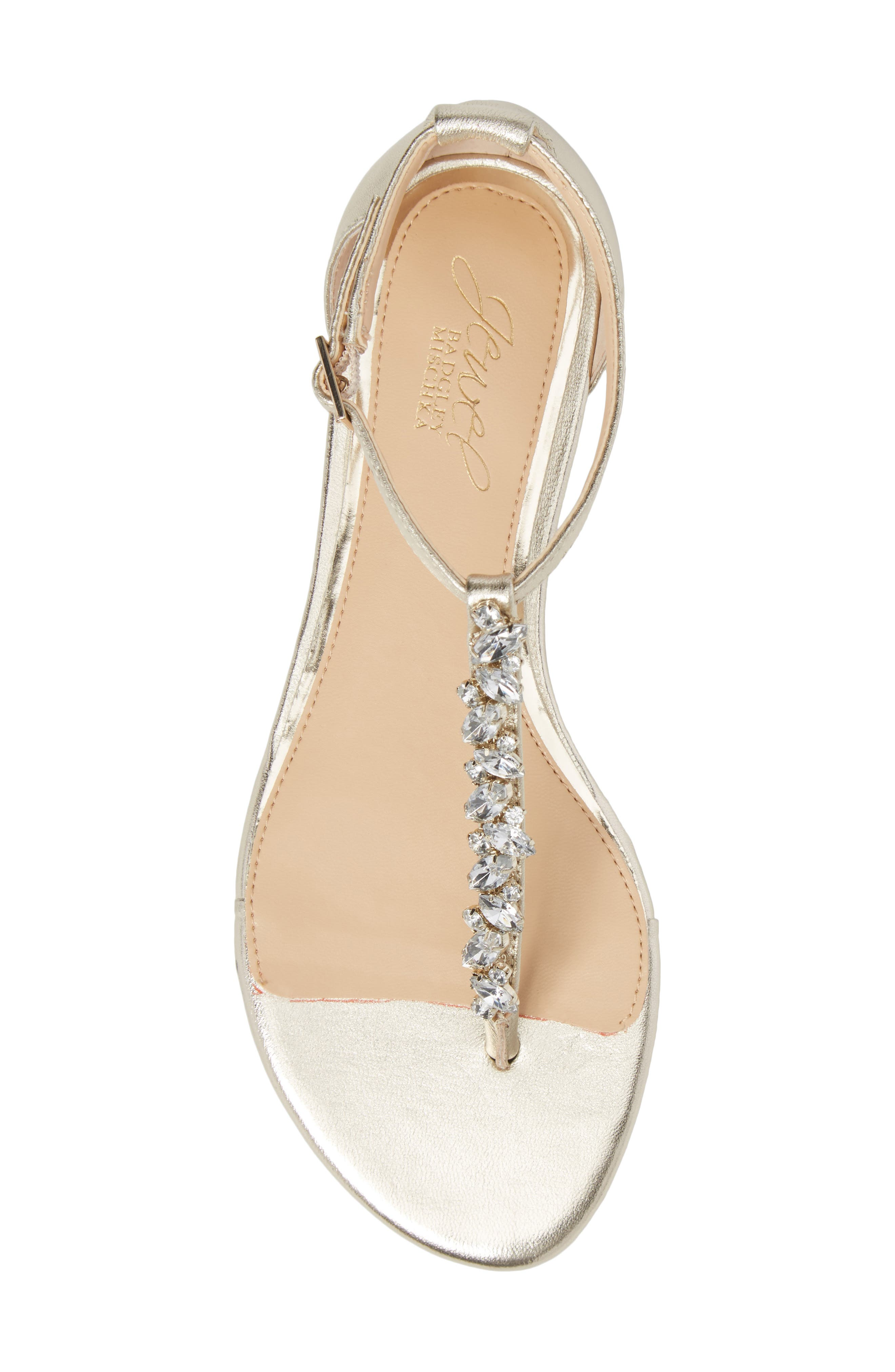 Carrol Embellished T-Strap Sandal,                             Alternate thumbnail 5, color,                             GOLD METALLIC LEATHER