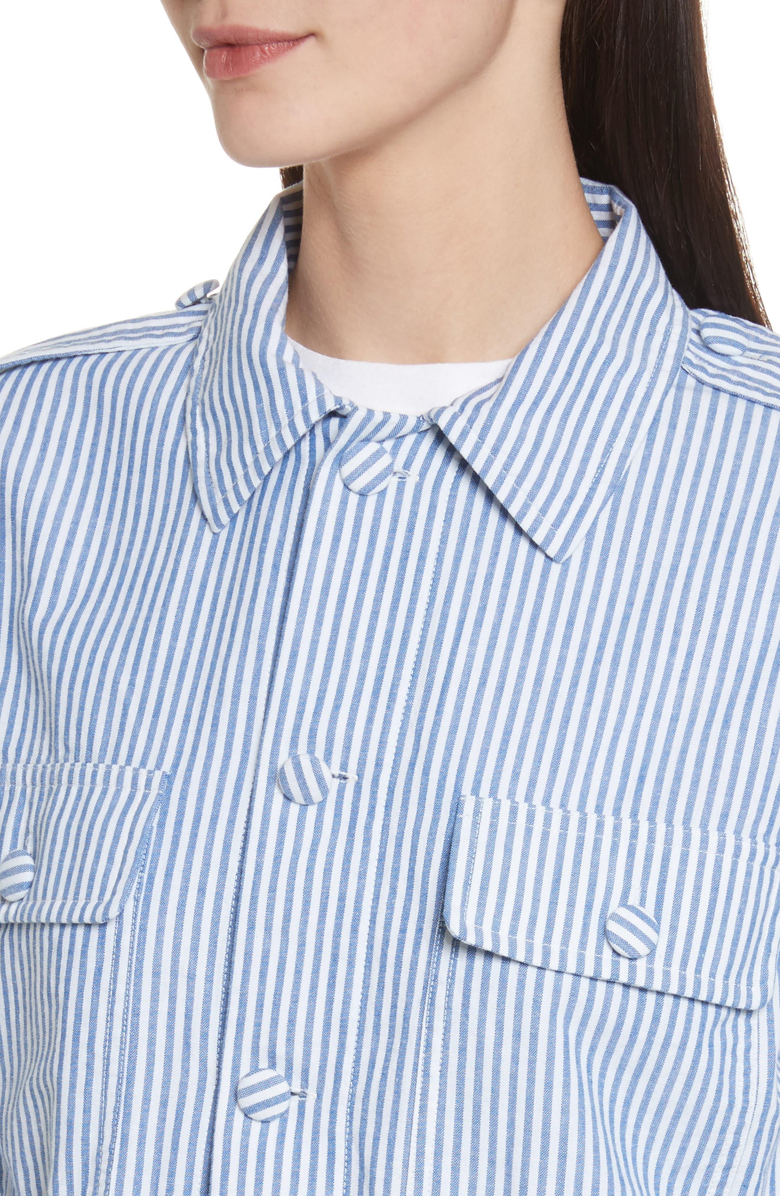 Stripe Bubble Hem Jacket,                             Alternate thumbnail 4, color,                             400