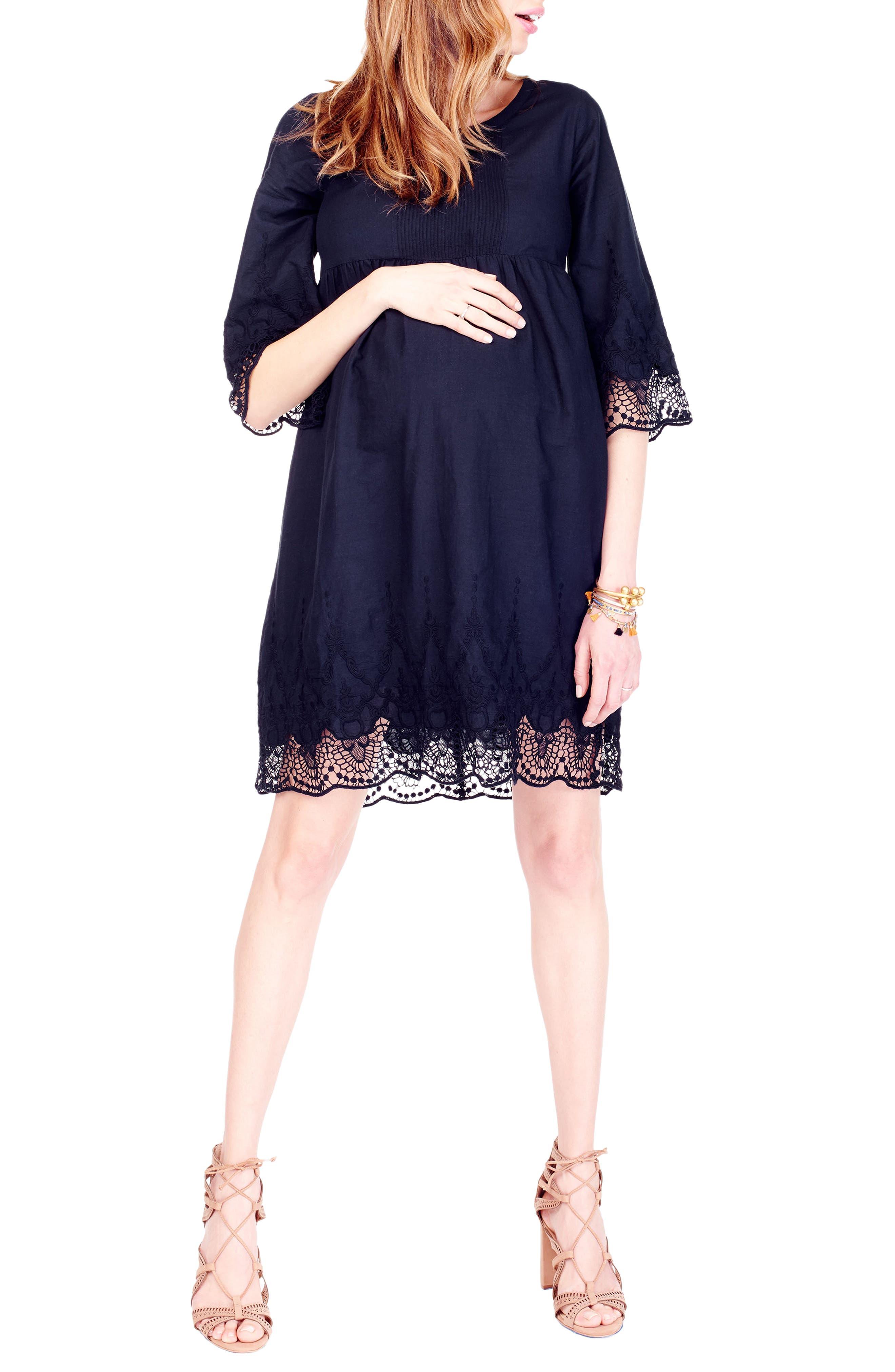 Lace Trim Maternity Dress,                             Main thumbnail 1, color,                             001