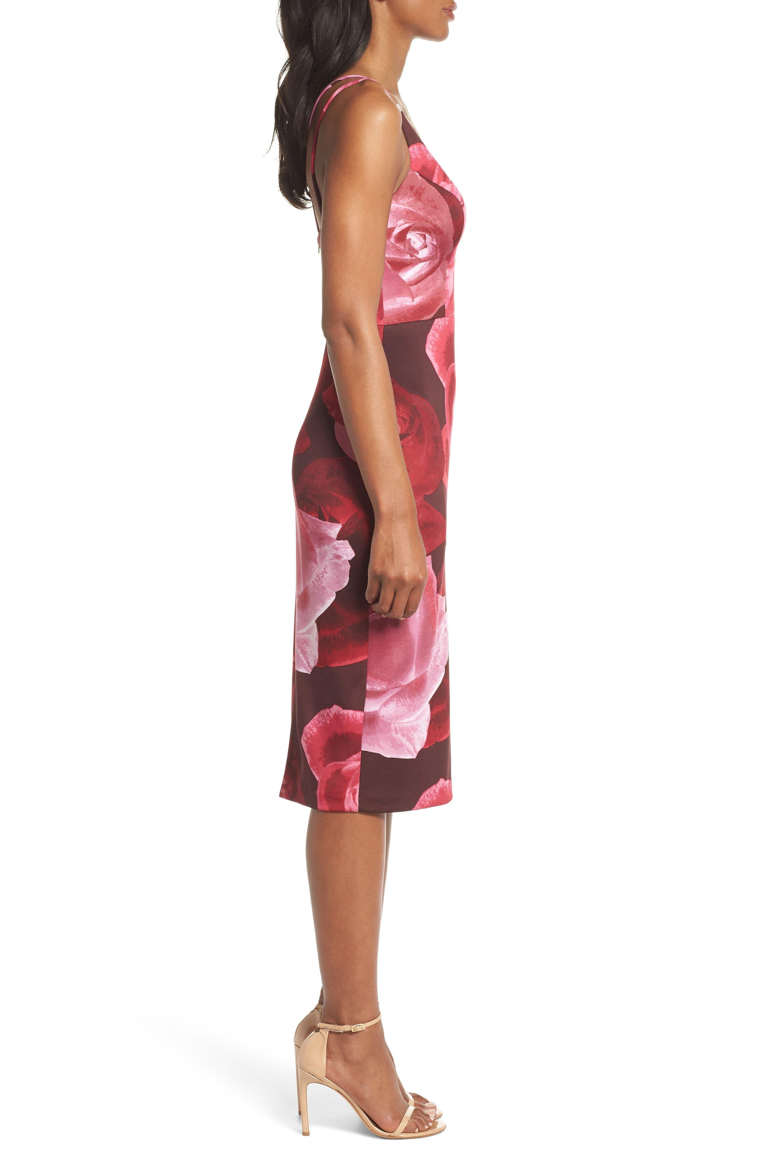 Floral Print Scuba Crepe Dress,                             Alternate thumbnail 3, color,                             MAGENTA