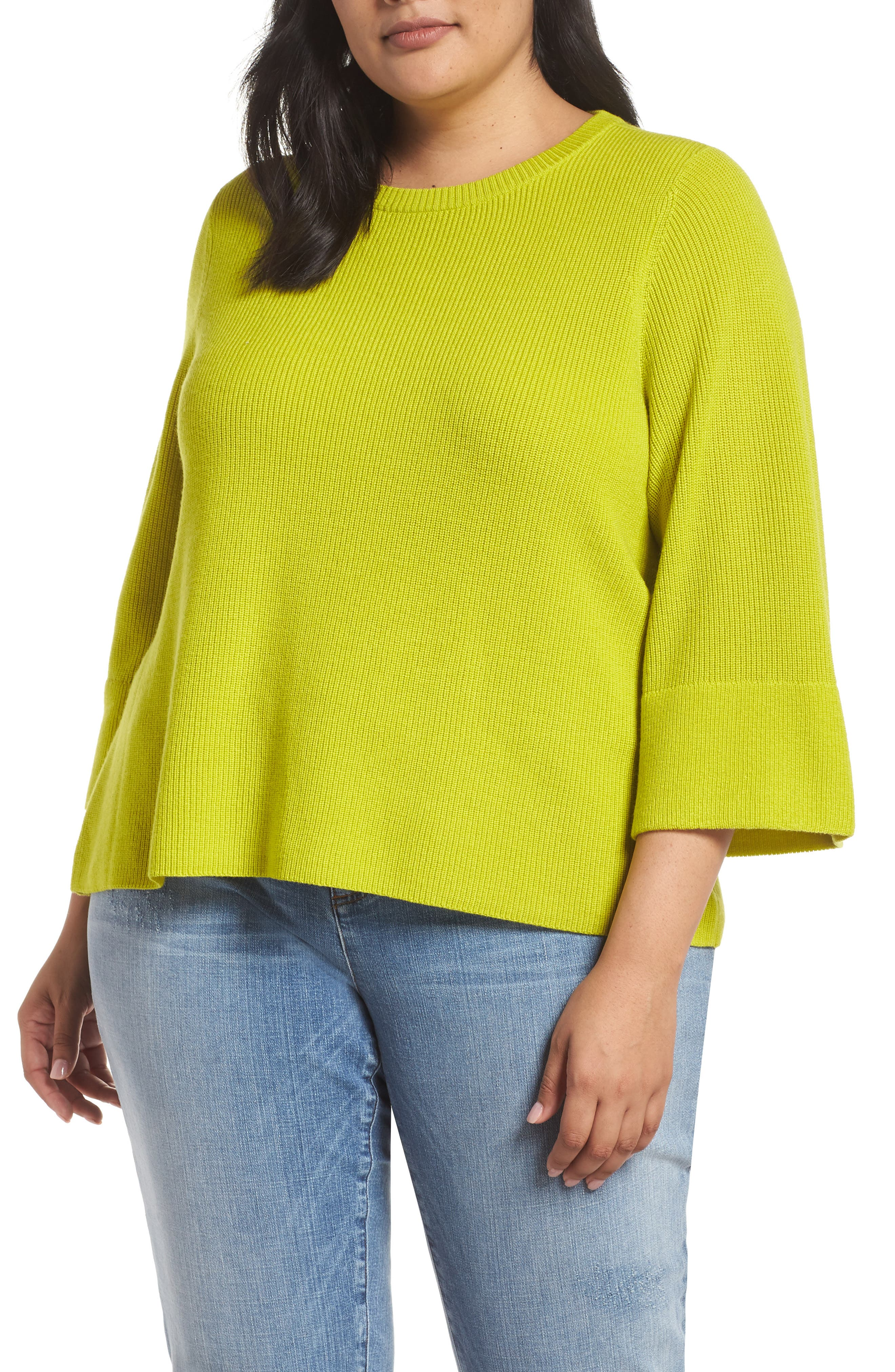 Plus Size Eileen Fisher Ribbed Merino Wool Sweater, Green