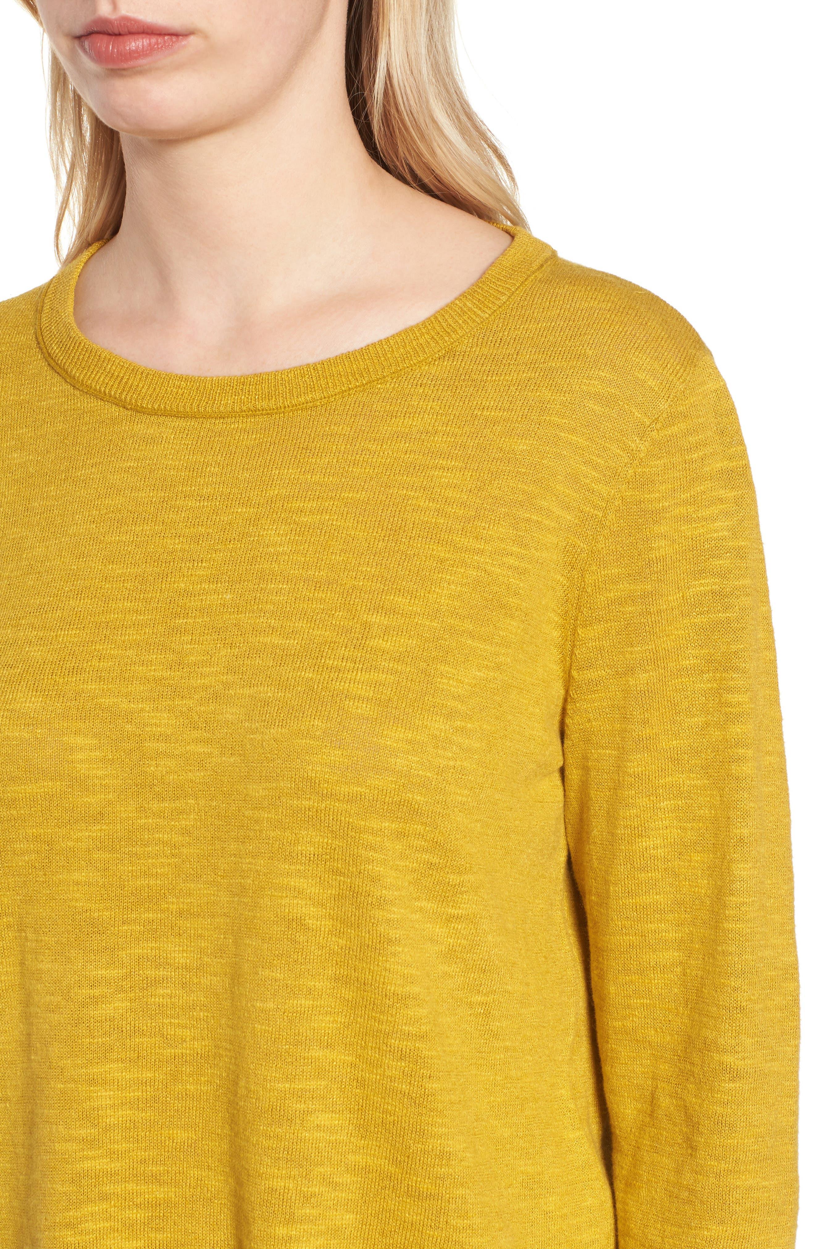 Organic Knit Crewneck Tunic Top,                             Alternate thumbnail 4, color,