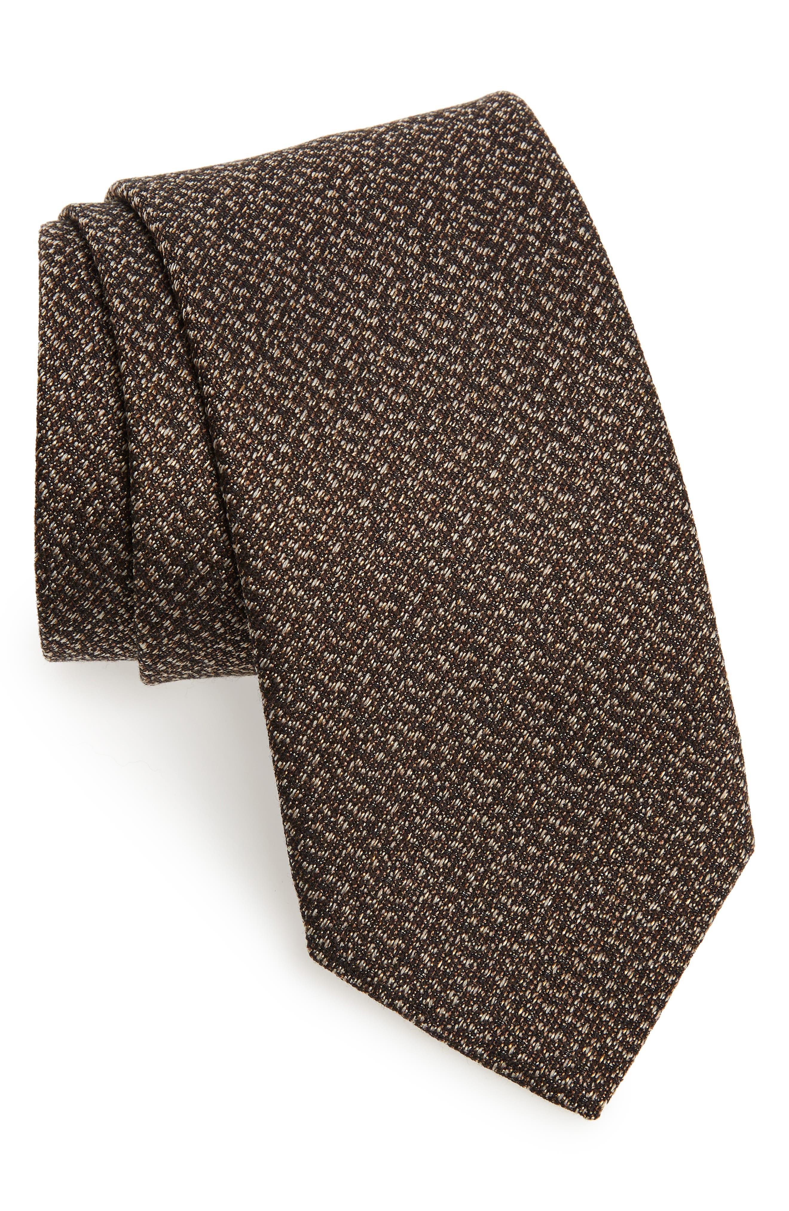 Solid Silk & Cotton Tie,                         Main,                         color, CHOCOLATE