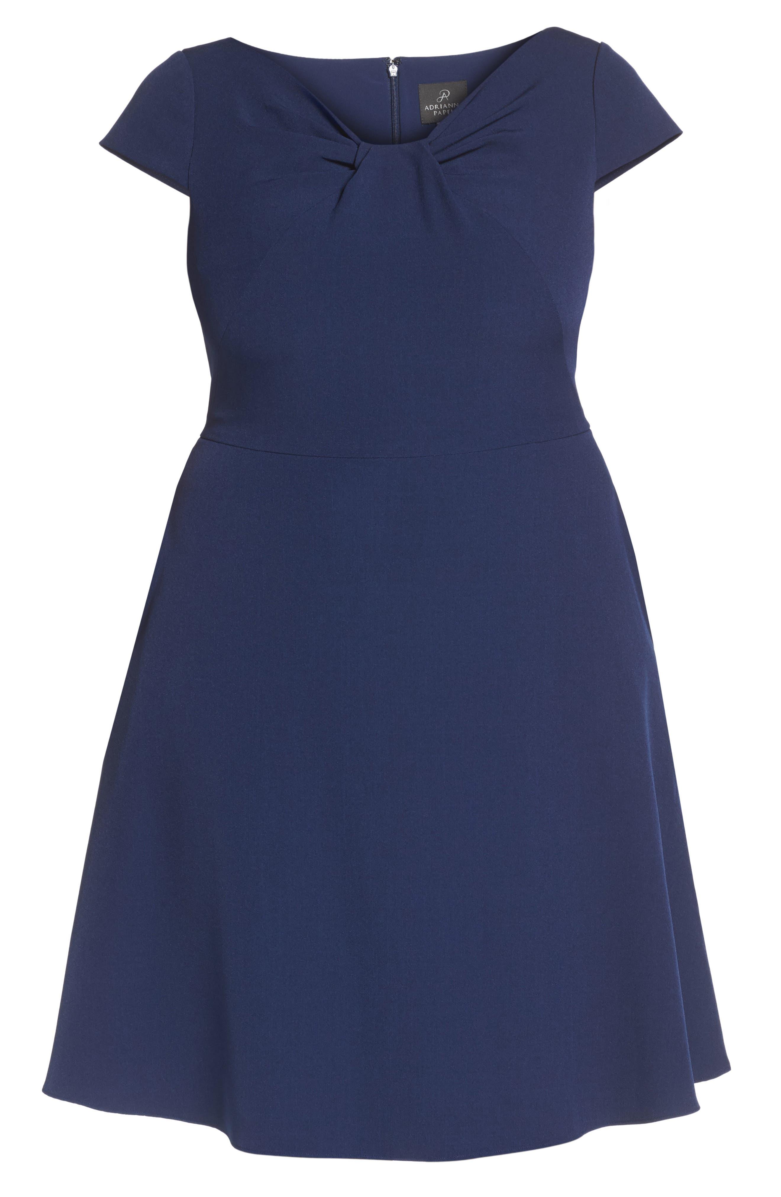 Drape Neck Fit & Flare Dress,                             Alternate thumbnail 6, color,                             412