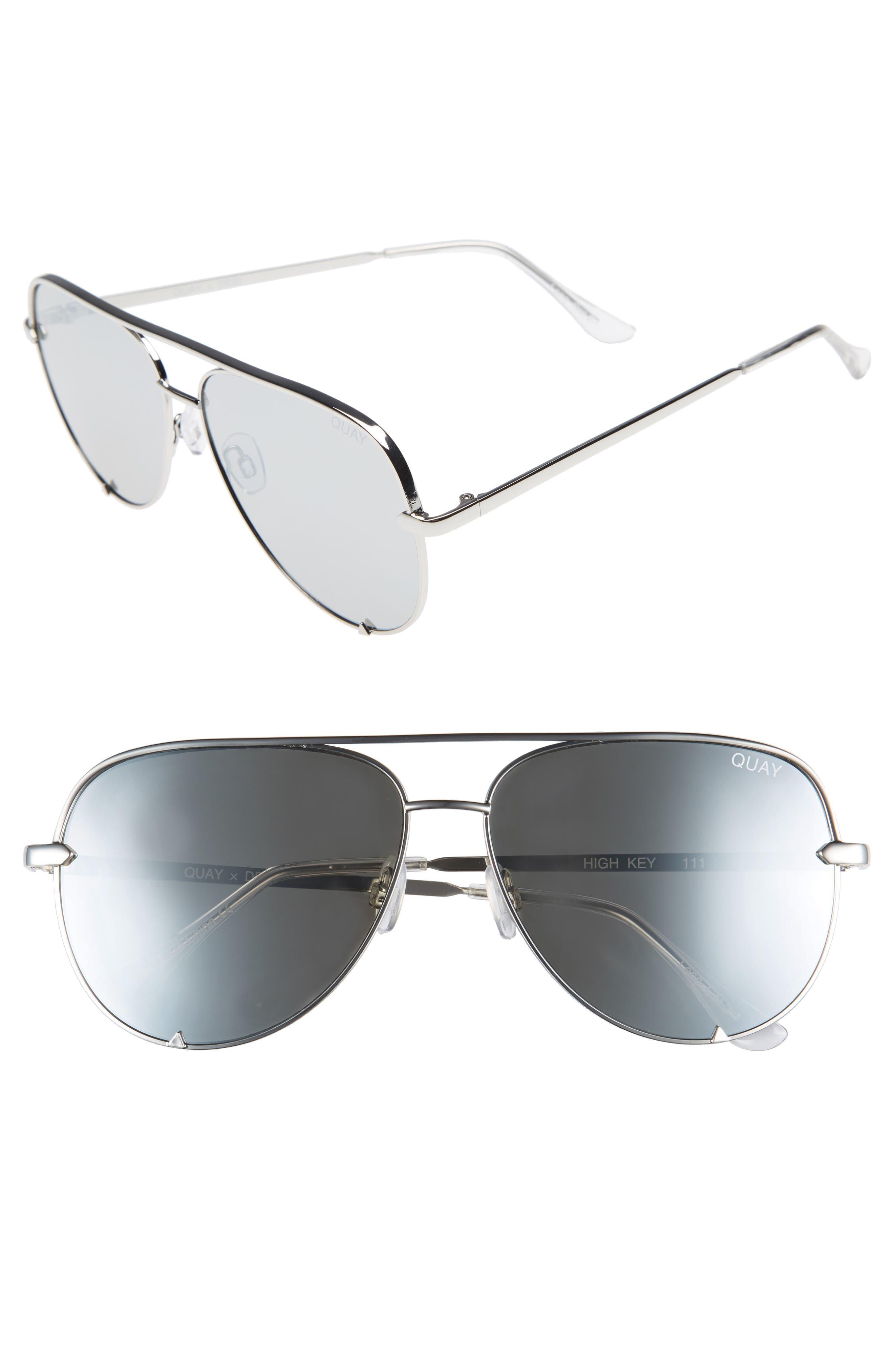 x Desi Perkins High Key 62mm Aviator Sunglasses,                         Main,                         color, SILVER/ SILVER
