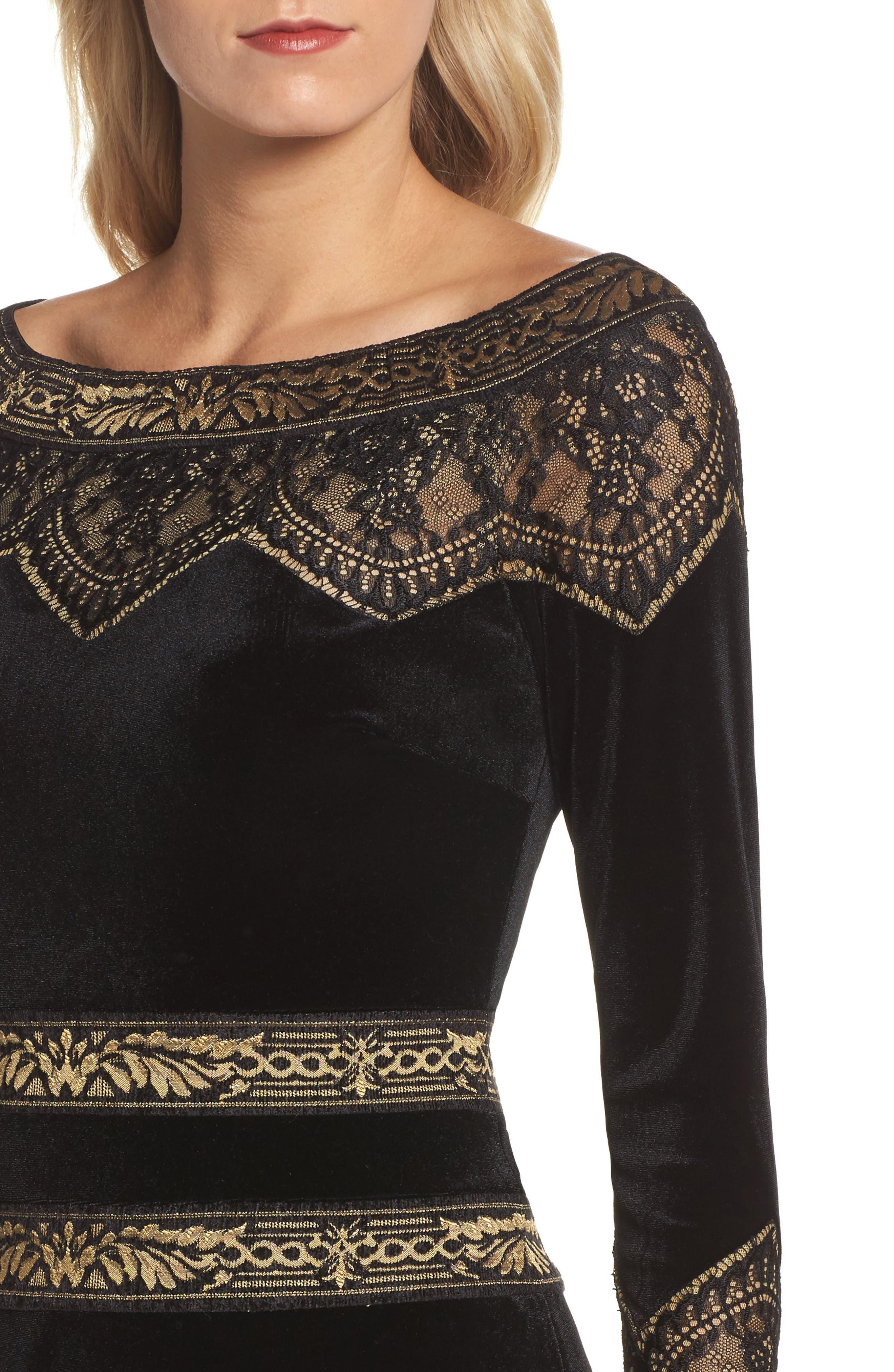 Lace Trim Velvet Gown,                             Alternate thumbnail 4, color,                             006