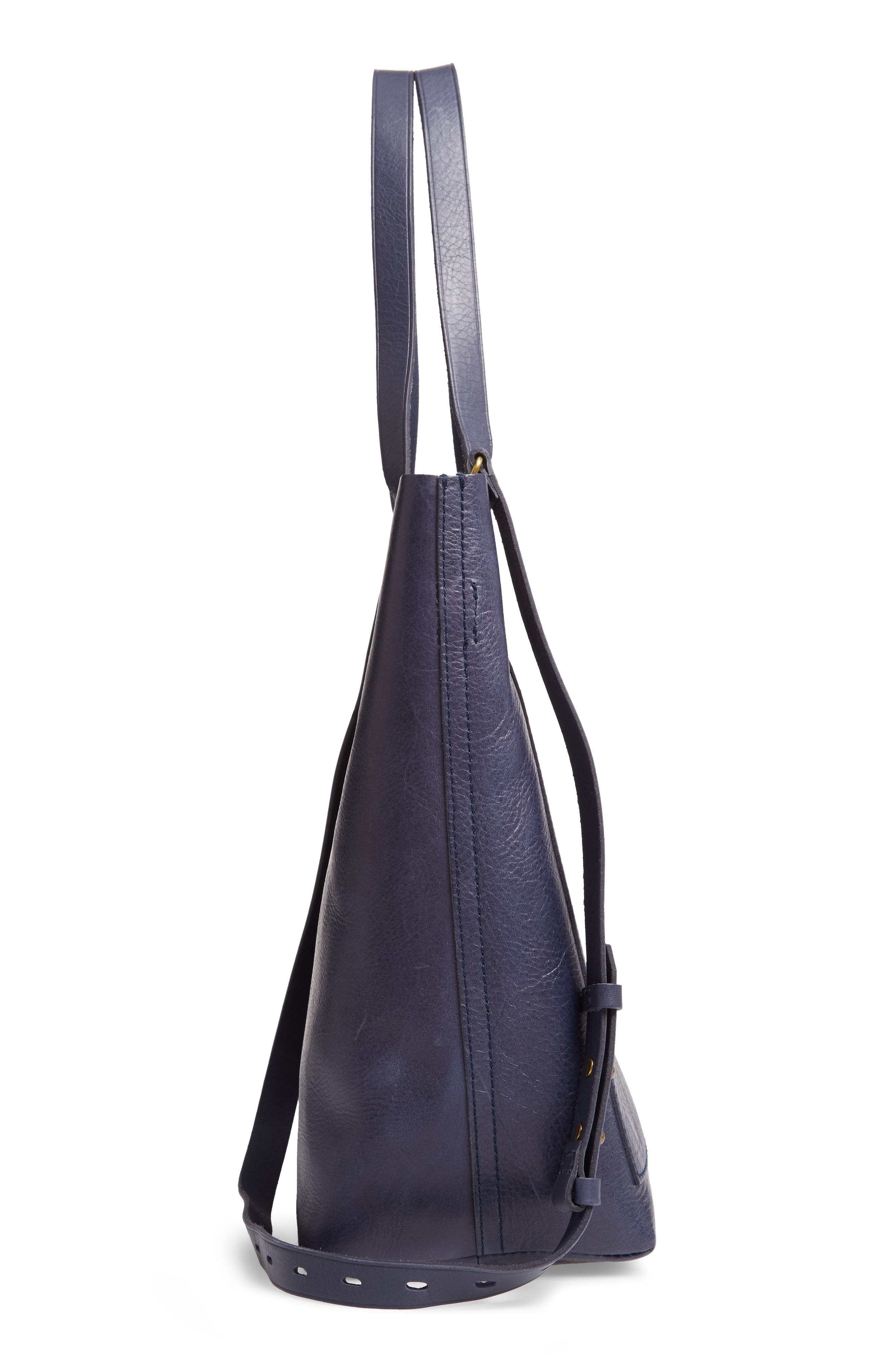 Medium Leather Transport Tote,                             Alternate thumbnail 5, color,                             DEEP NAVY