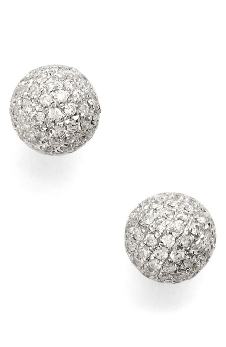 Diamond Pavé Ball Stud Earrings