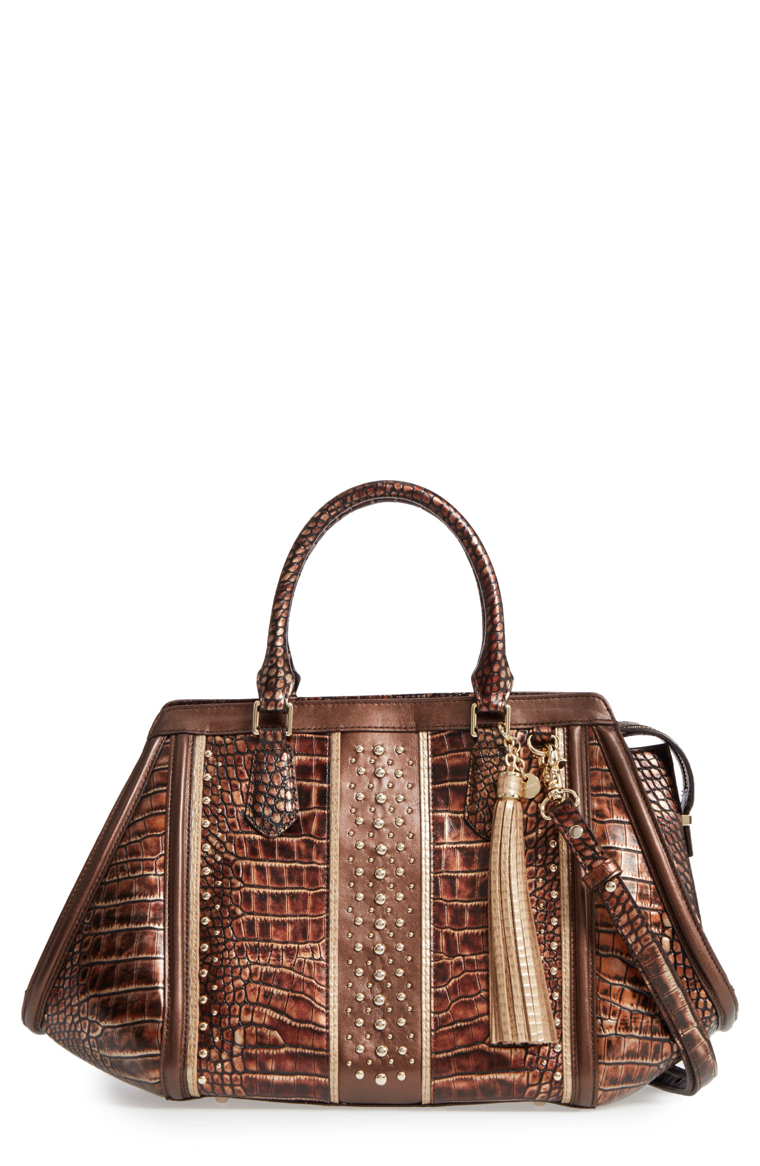 Milan Arden Embossed Leather Satchel,                             Main thumbnail 1, color,                             200