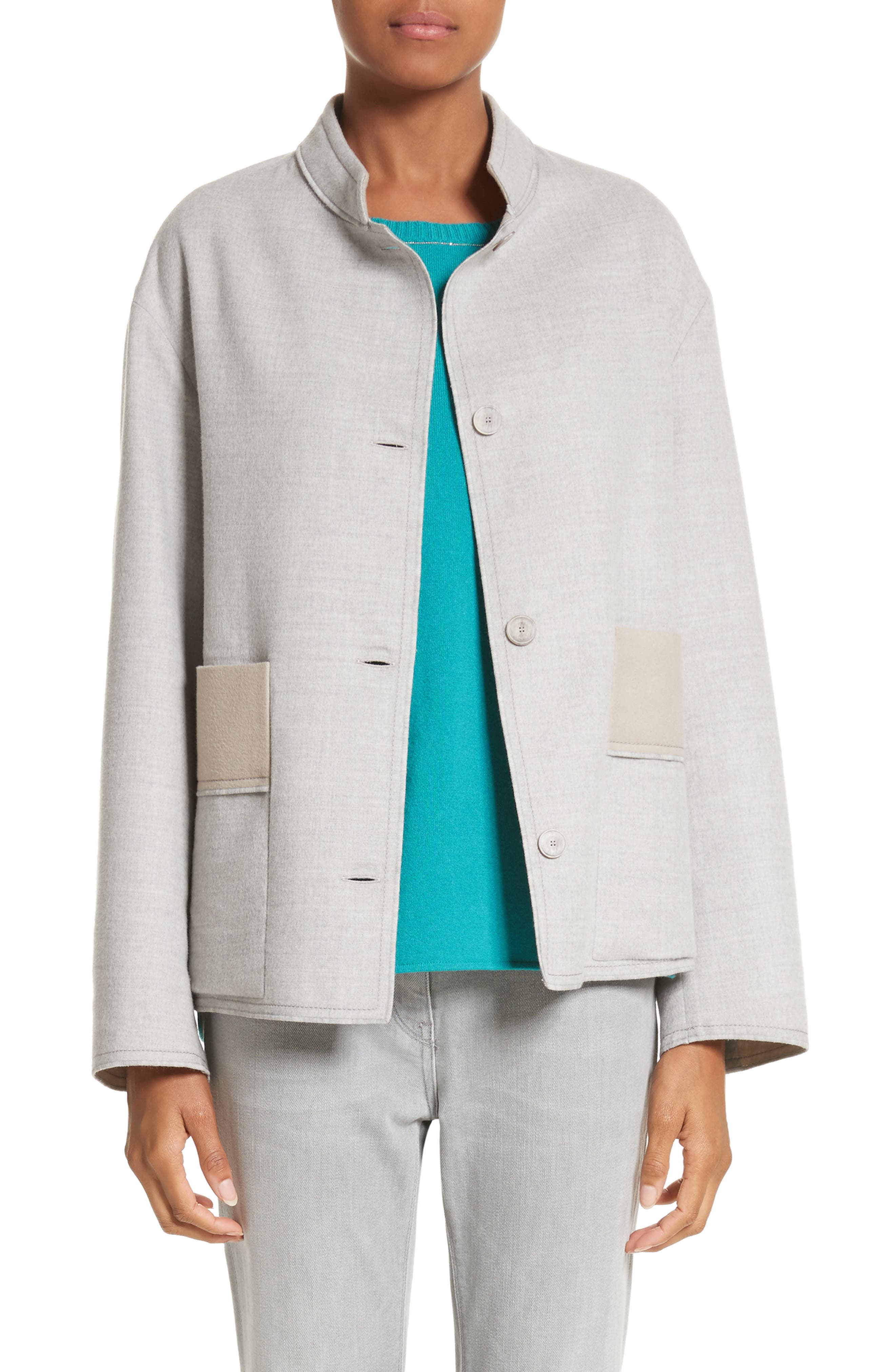 Double Face Silk & Wool Jacket,                         Main,                         color, 050