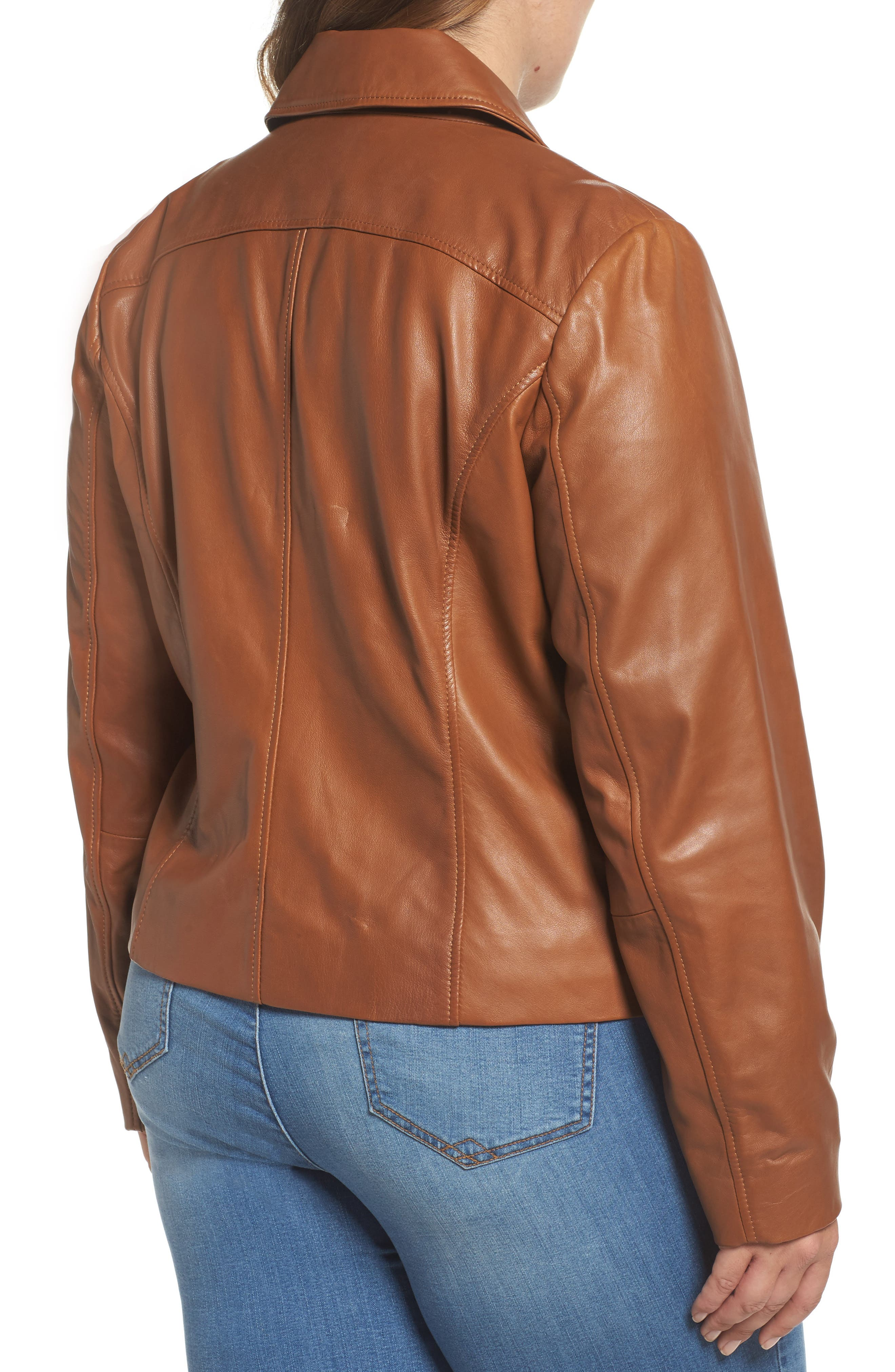Leather Moto Jacket,                             Alternate thumbnail 9, color,