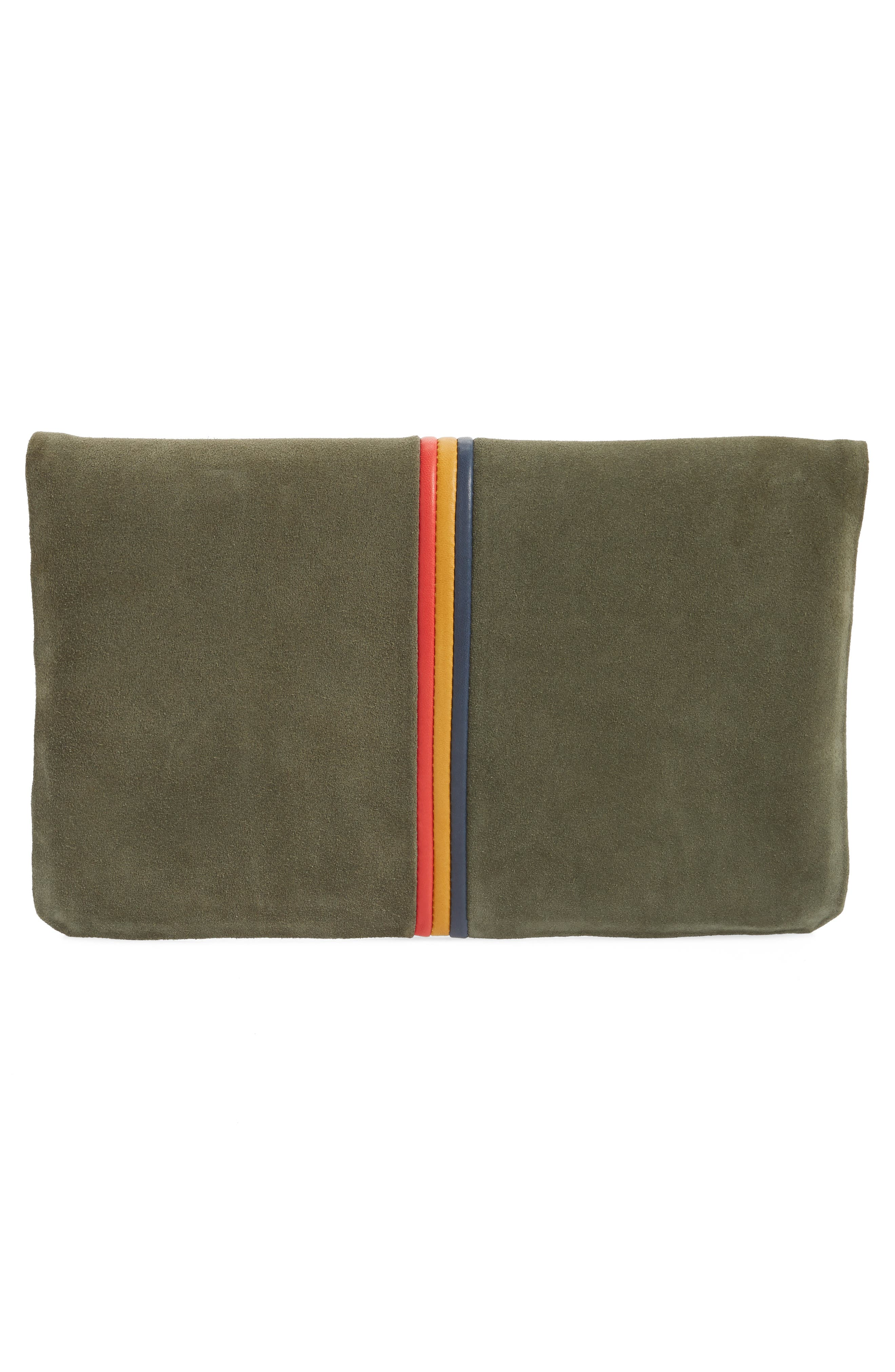 Center Stripe Nubuck Foldover Clutch,                             Alternate thumbnail 3, color,                             ARMY SUEDE STRIPE