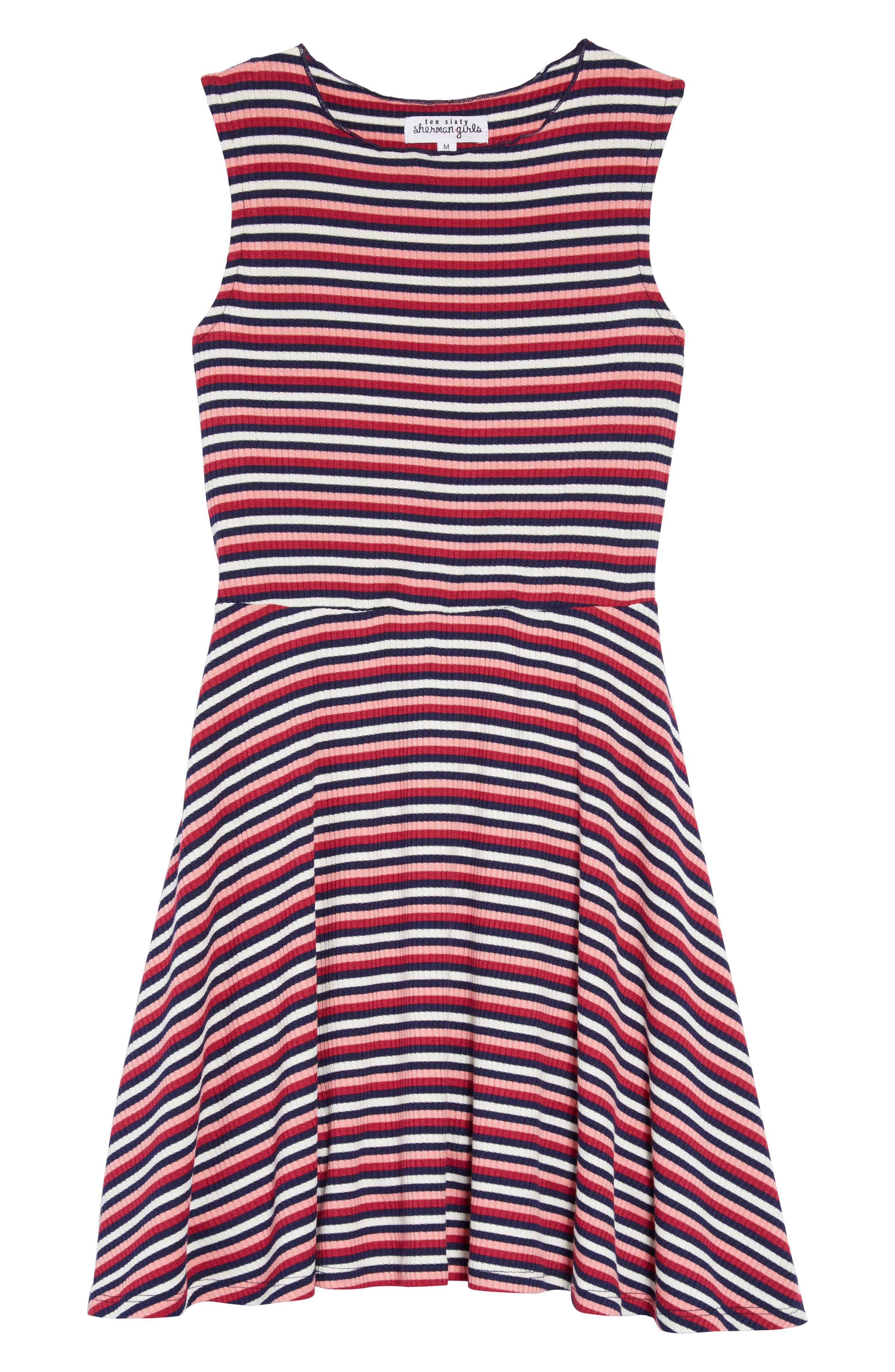 TEN SIXTY SHERMAN Stripe Dress, Main, color, WHITE RASPBERRY