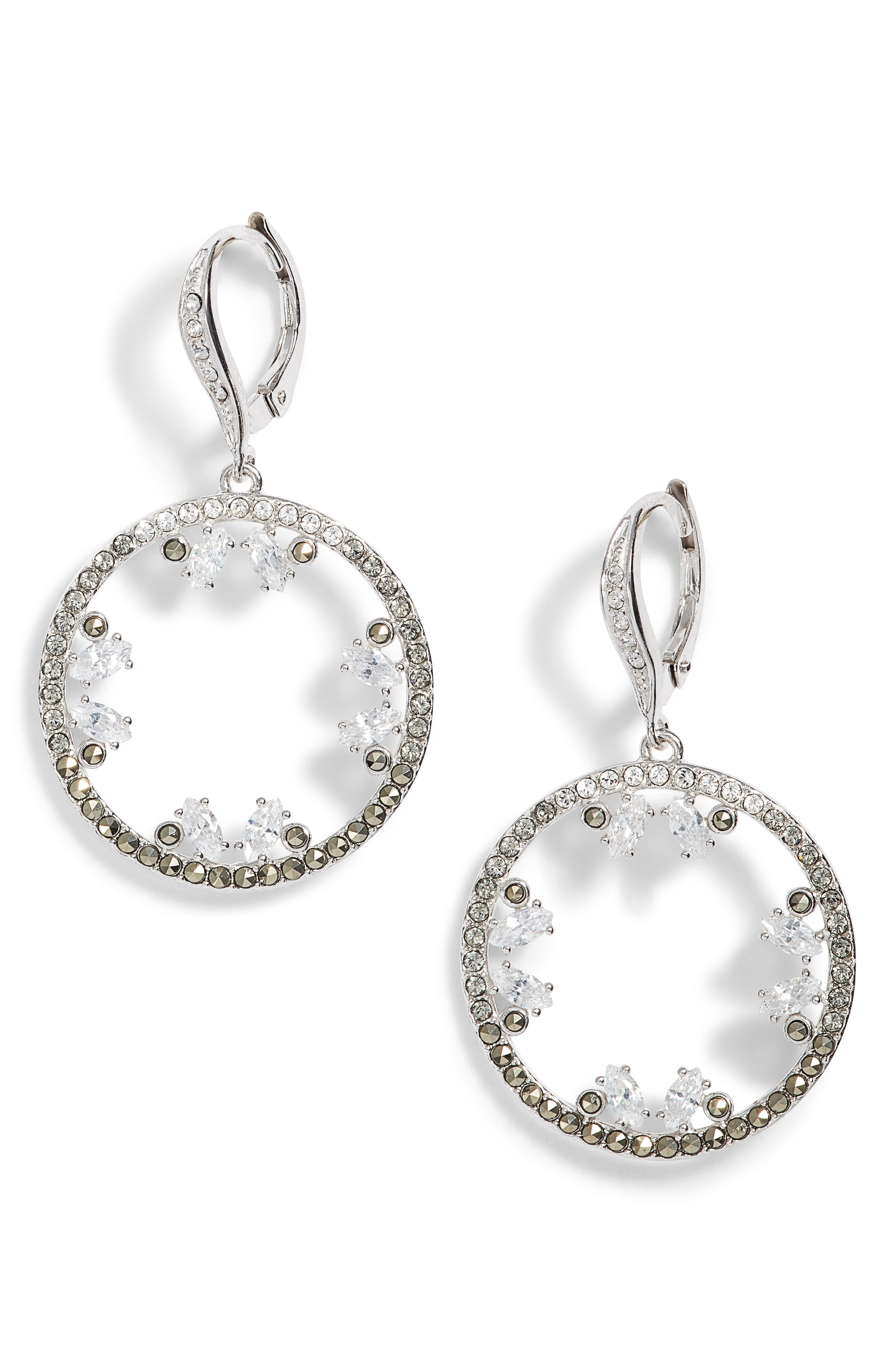 Doublet Cubic Zirconia Drop Earrings,                         Main,                         color, 040