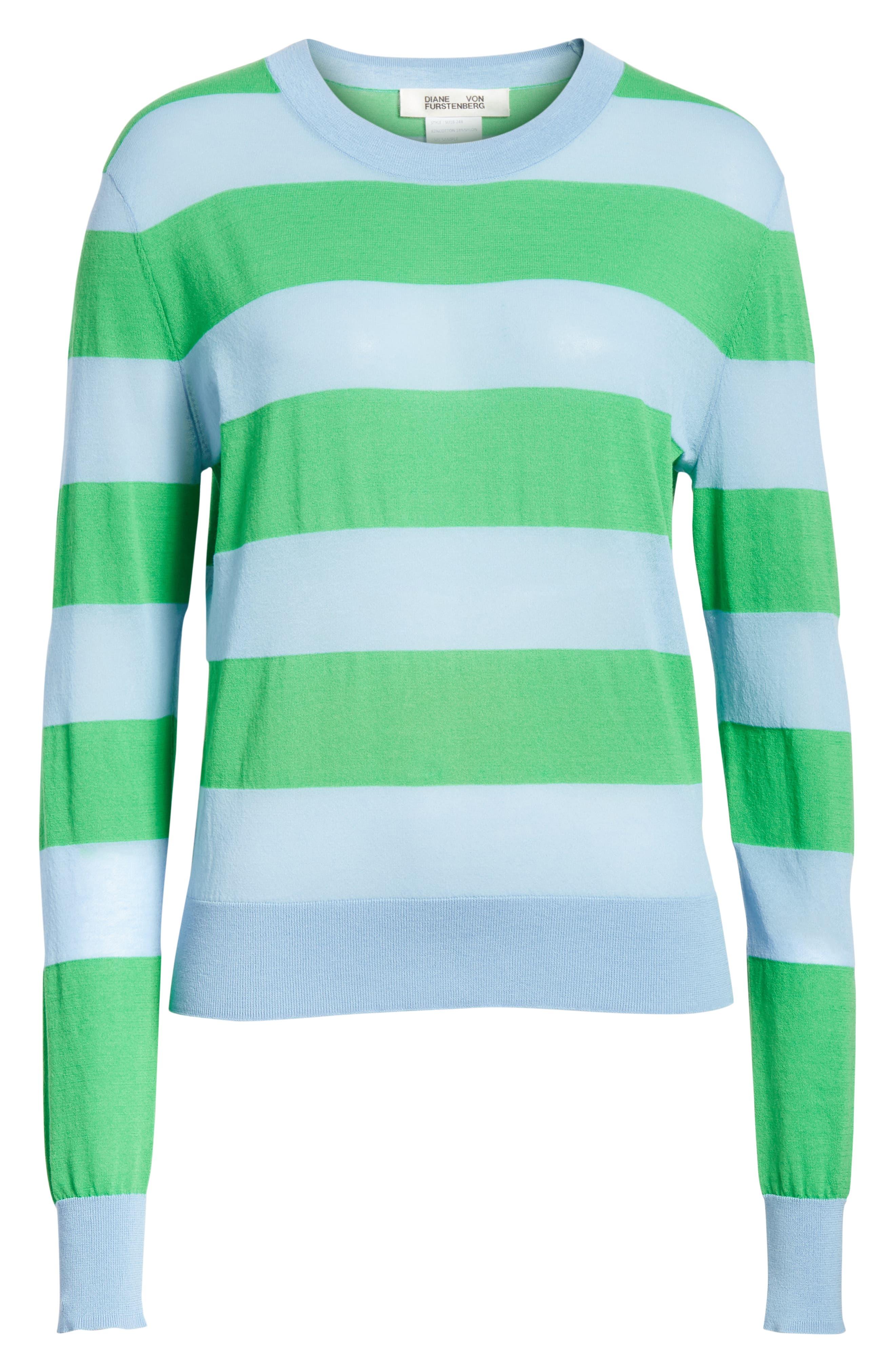 Diane von Furstenberg Colorblock Stripe Sweater,                             Alternate thumbnail 6, color,                             415