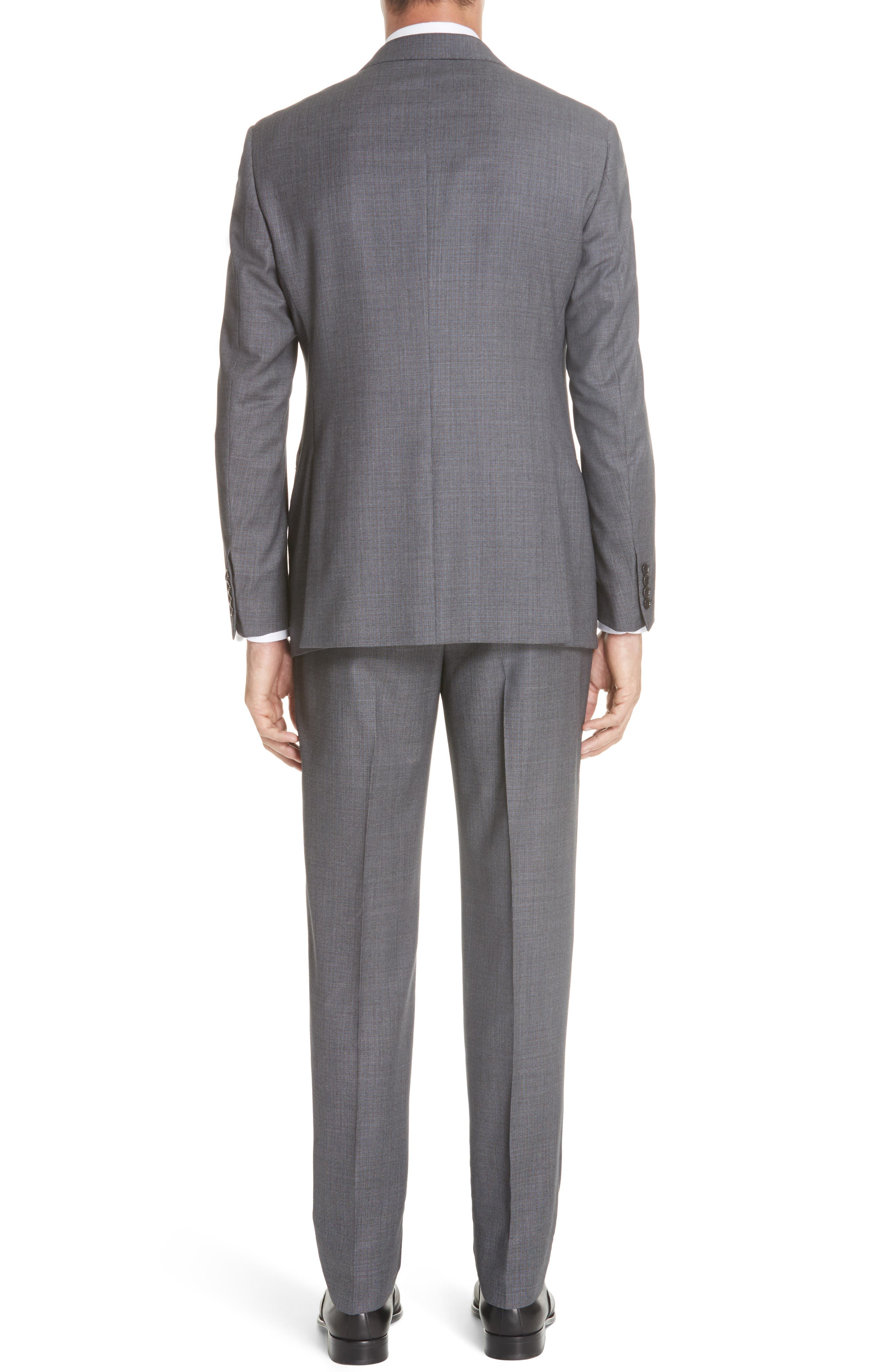 G-Line Trim Fit Bird's Eye Wool Suit,                             Alternate thumbnail 2, color,                             GREY/ LIGHT BLUE