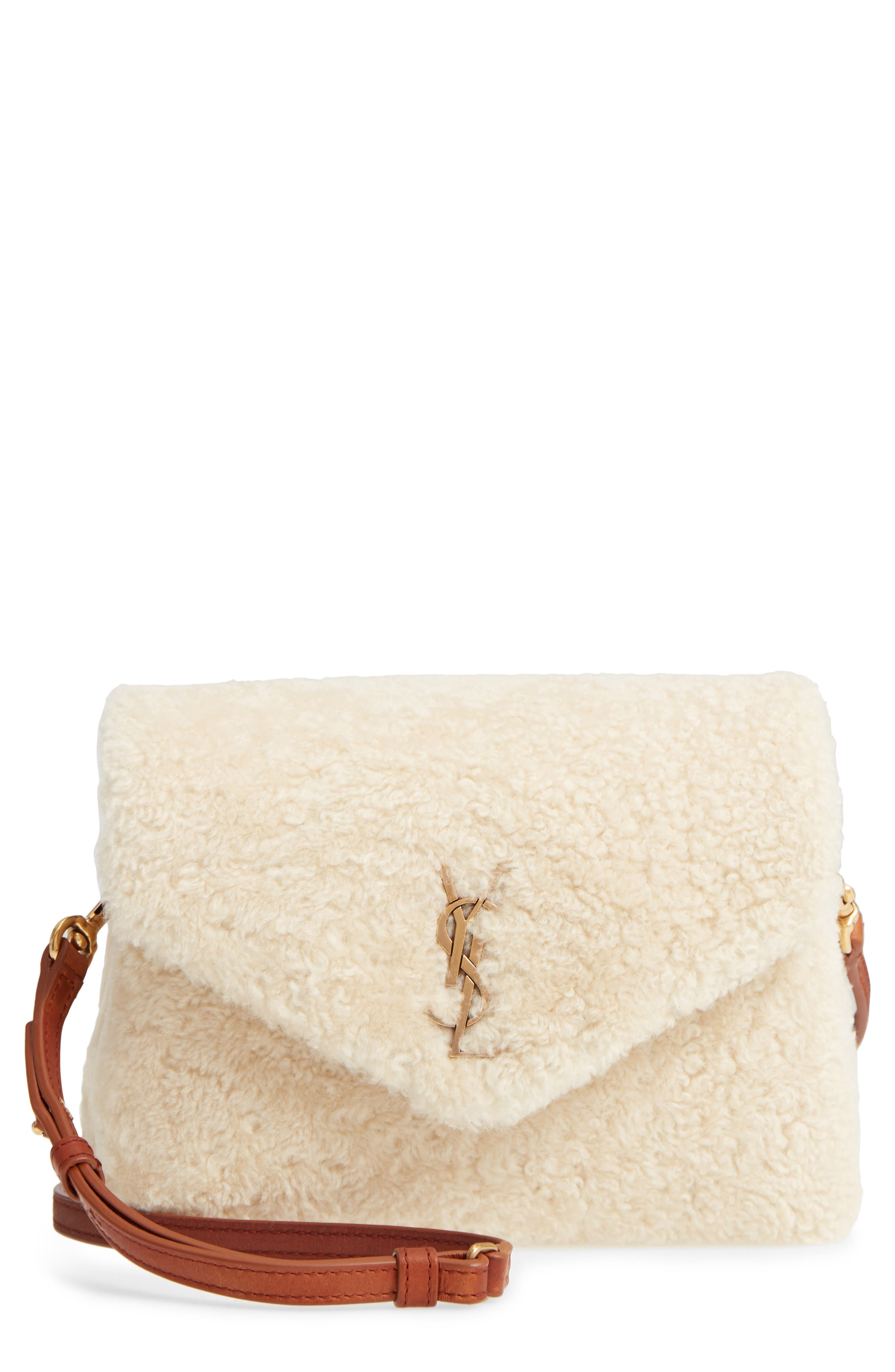 Small Loulou Genuine Shearling Crossbody Bag,                         Main,                         color, NATURALE/ DEEP CUOIO