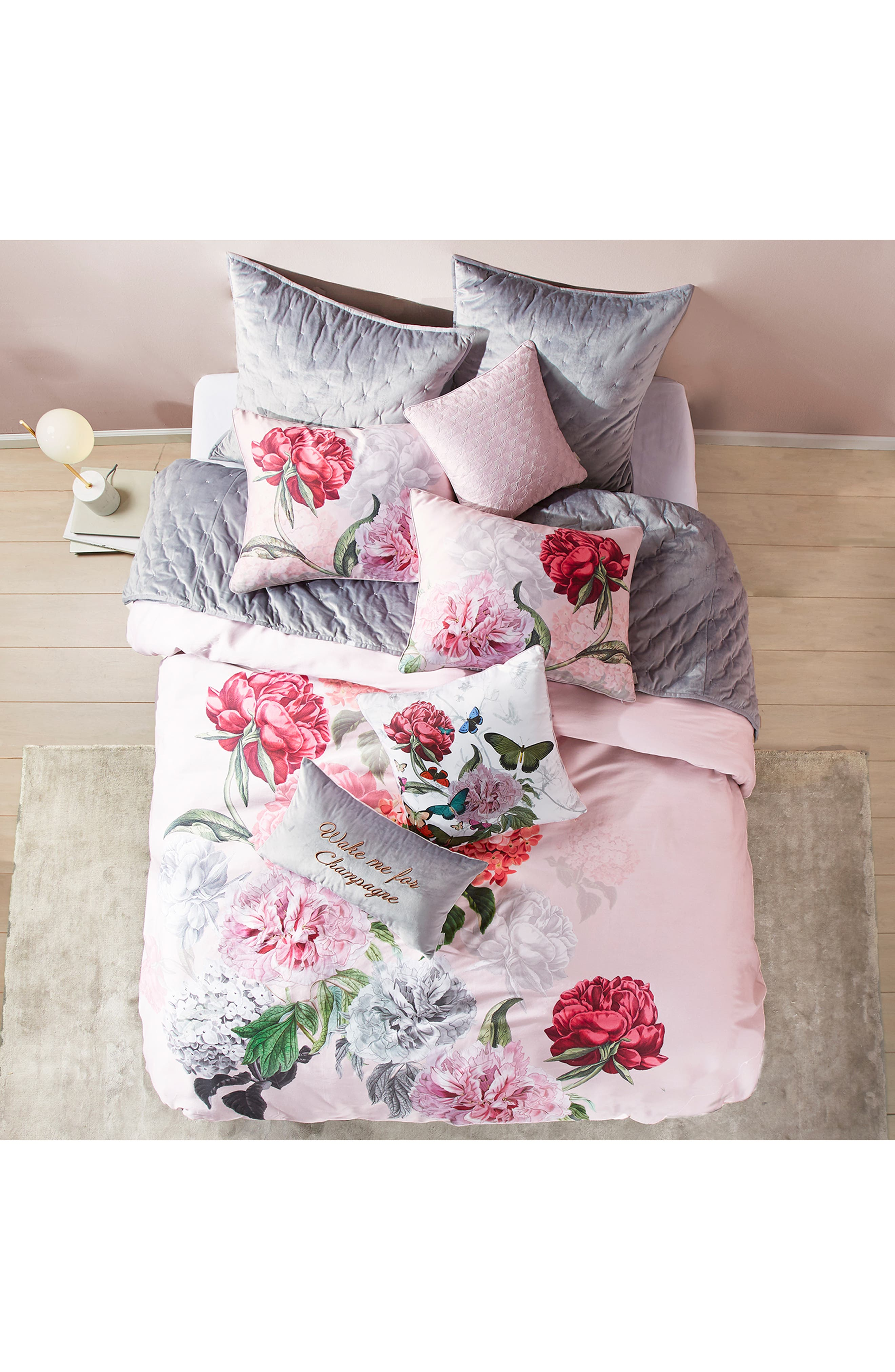 Palace Gardens Comforter & Sham Set,                             Alternate thumbnail 4, color,                             PINK