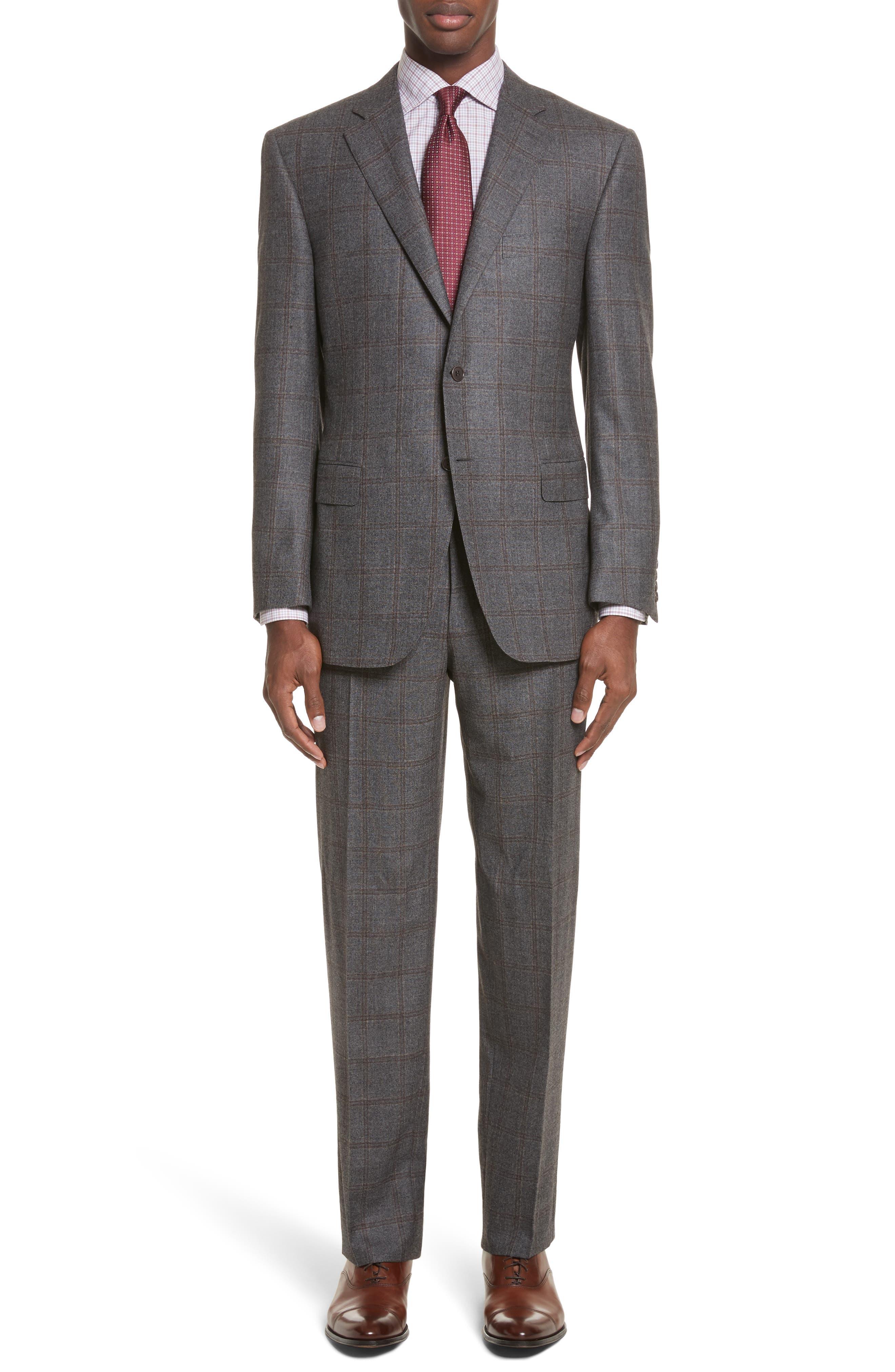 Classic Fit Plaid Wool Suit,                             Main thumbnail 1, color,                             030