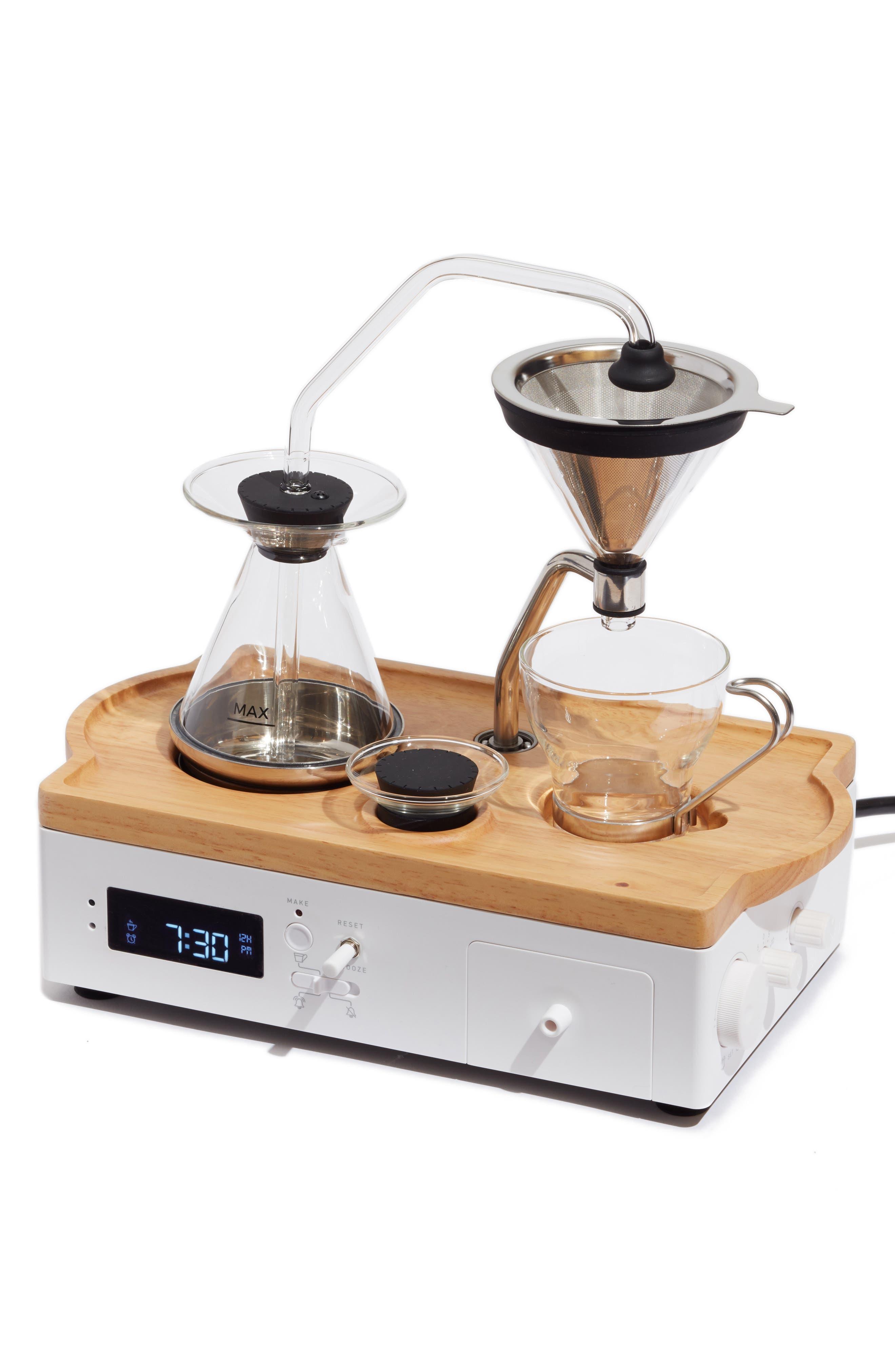 Soda Says x Barisieur Coffee & Tea Alarm Clock,                         Main,                         color, WHITE/ RUBBERWOOD