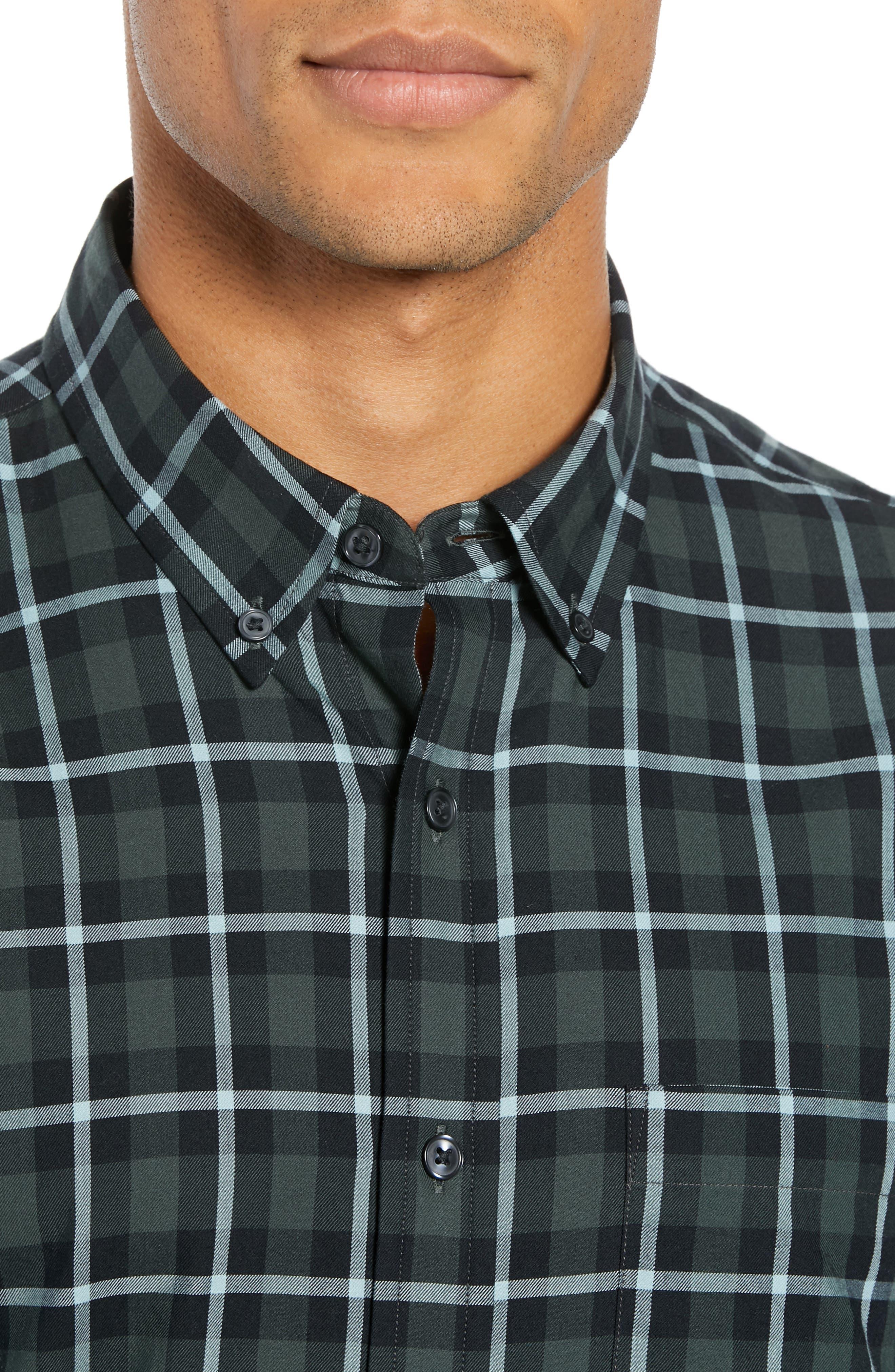 Trim Fit Plaid Sport Shirt,                             Alternate thumbnail 2, color,                             NAVY MULTI