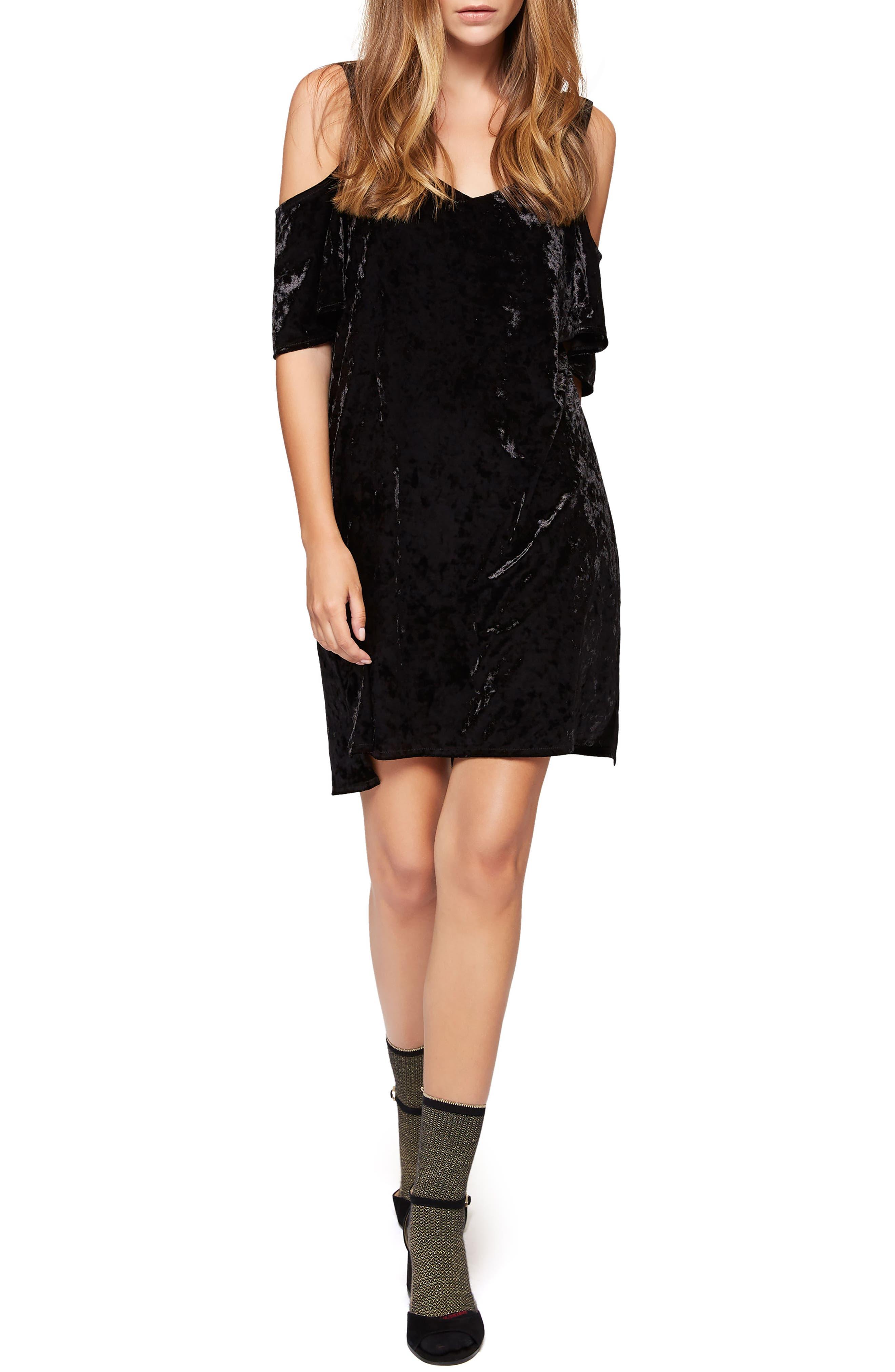 Drea Off the Shoulder Crushed Velvet Dress,                             Main thumbnail 1, color,                             001