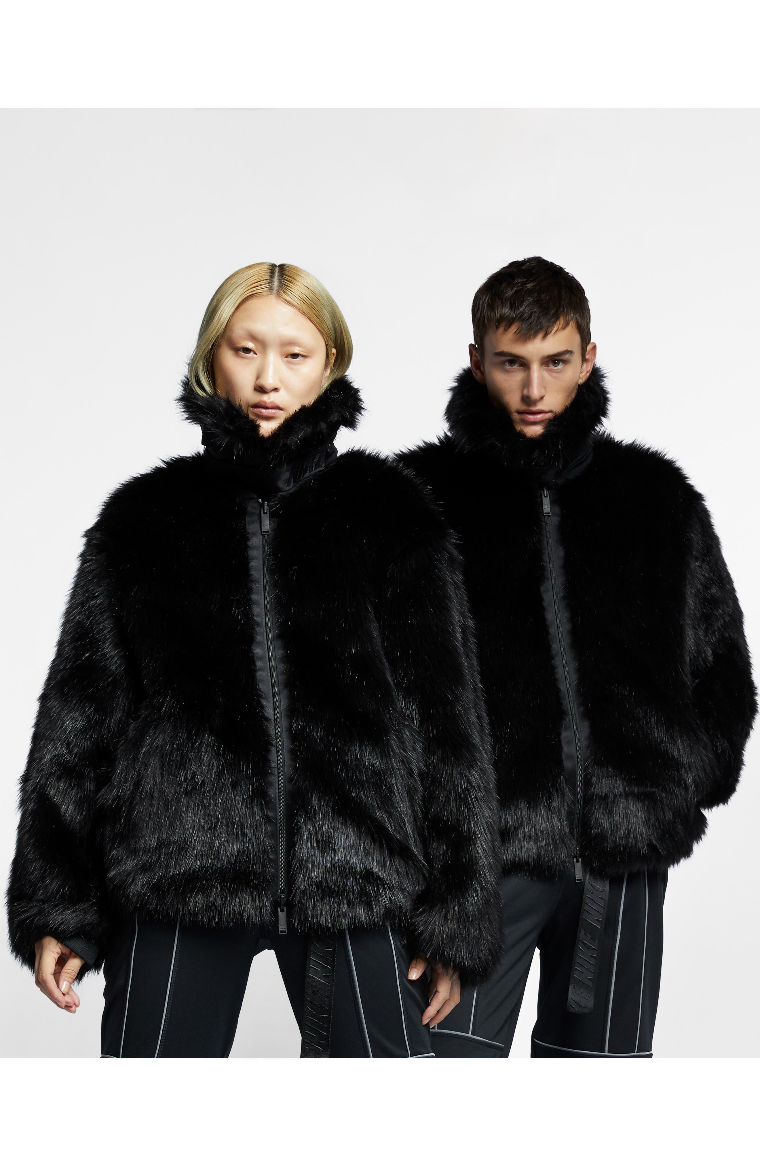 NIKE,                             x Ambush Women's Reversible Faux Fur Coat,                             Alternate thumbnail 7, color,                             010