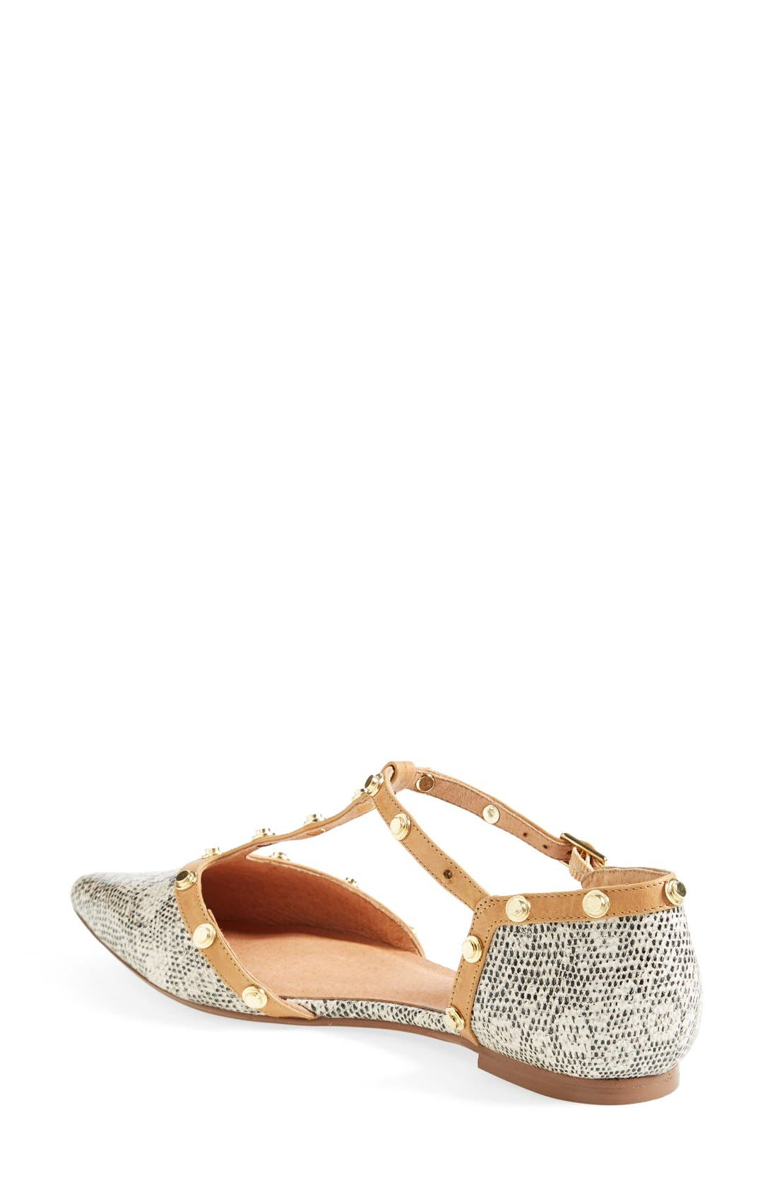 'Olson' Pointy Toe Studded T-Strap Flat,                             Alternate thumbnail 41, color,