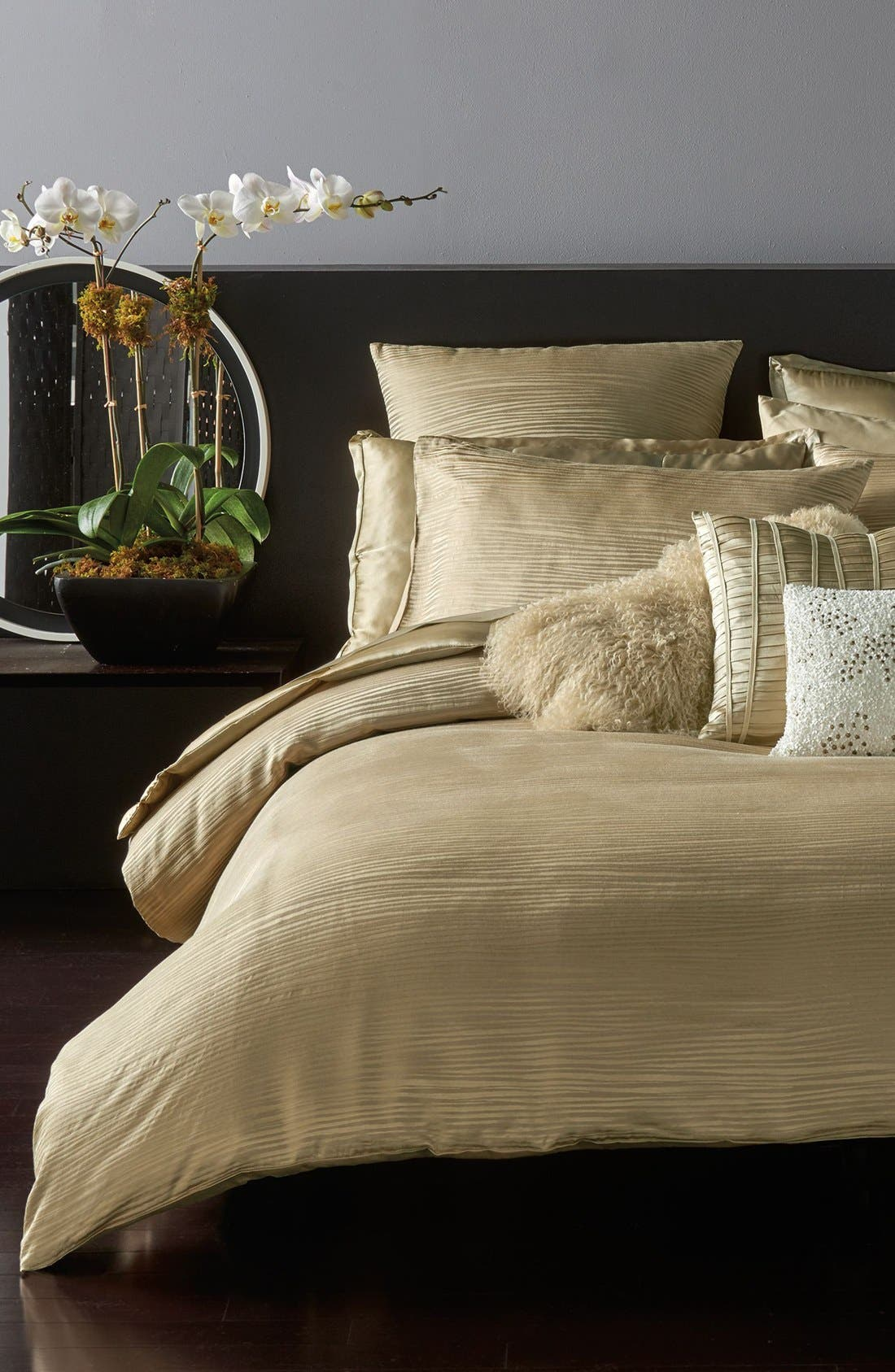 Donna Karan Collection 'Reflection' Duvet Cover,                             Main thumbnail 1, color,                             GOLD DUST
