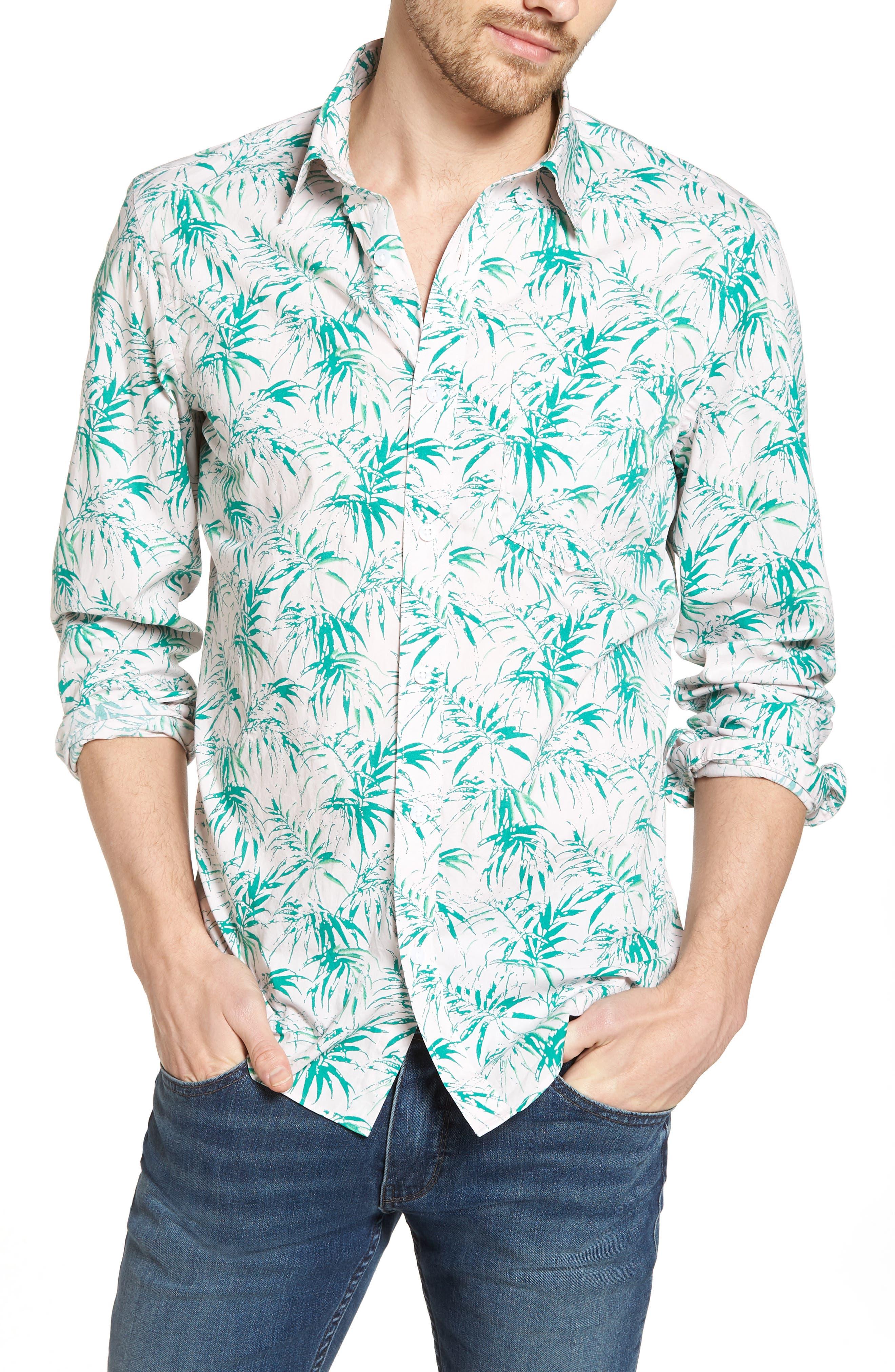 Trim Fit Palm Print Sport Shirt,                             Main thumbnail 1, color,                             680