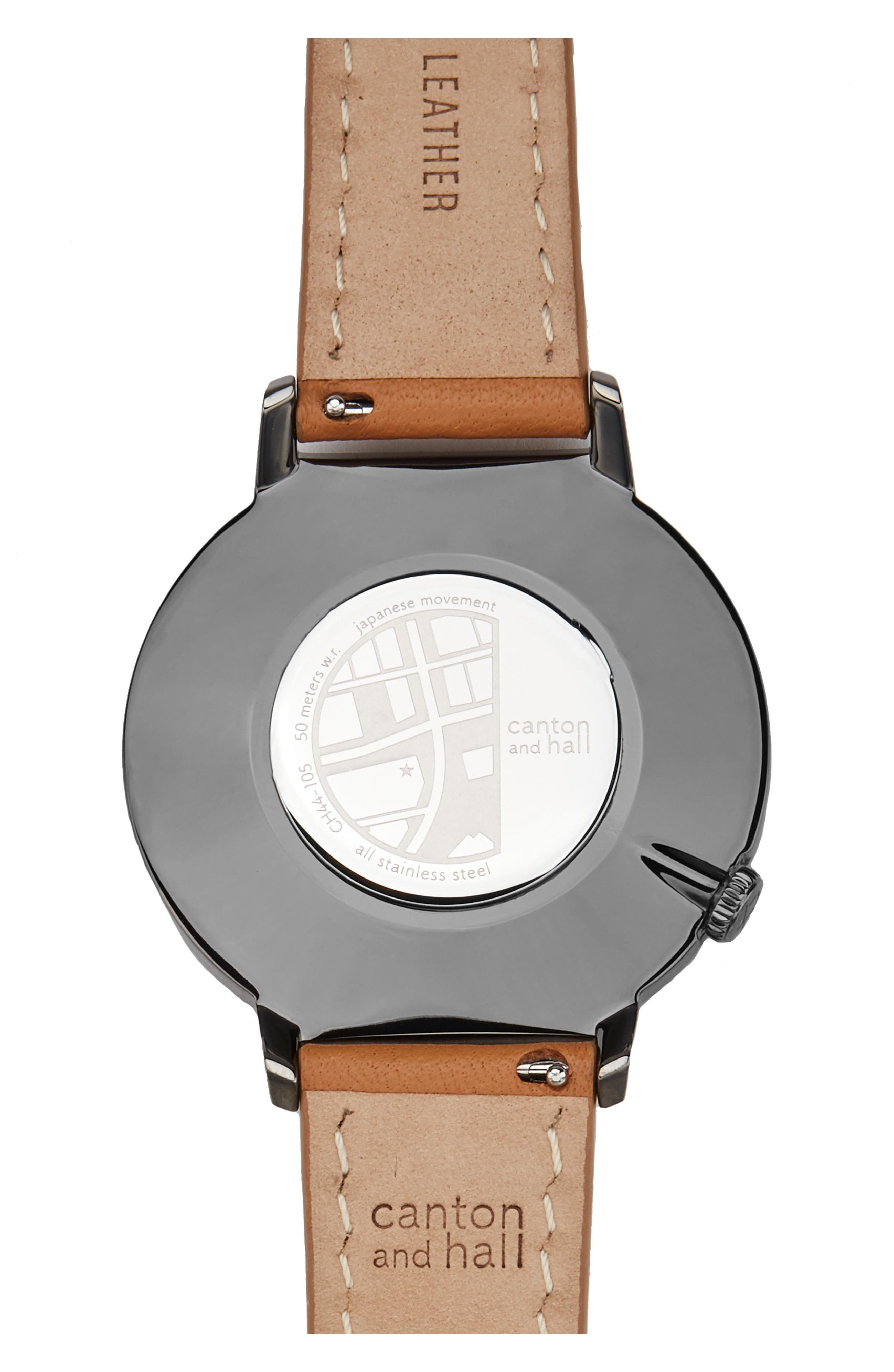 Davis Slim Leather Strap Watch, 44mm,                             Alternate thumbnail 2, color,                             250