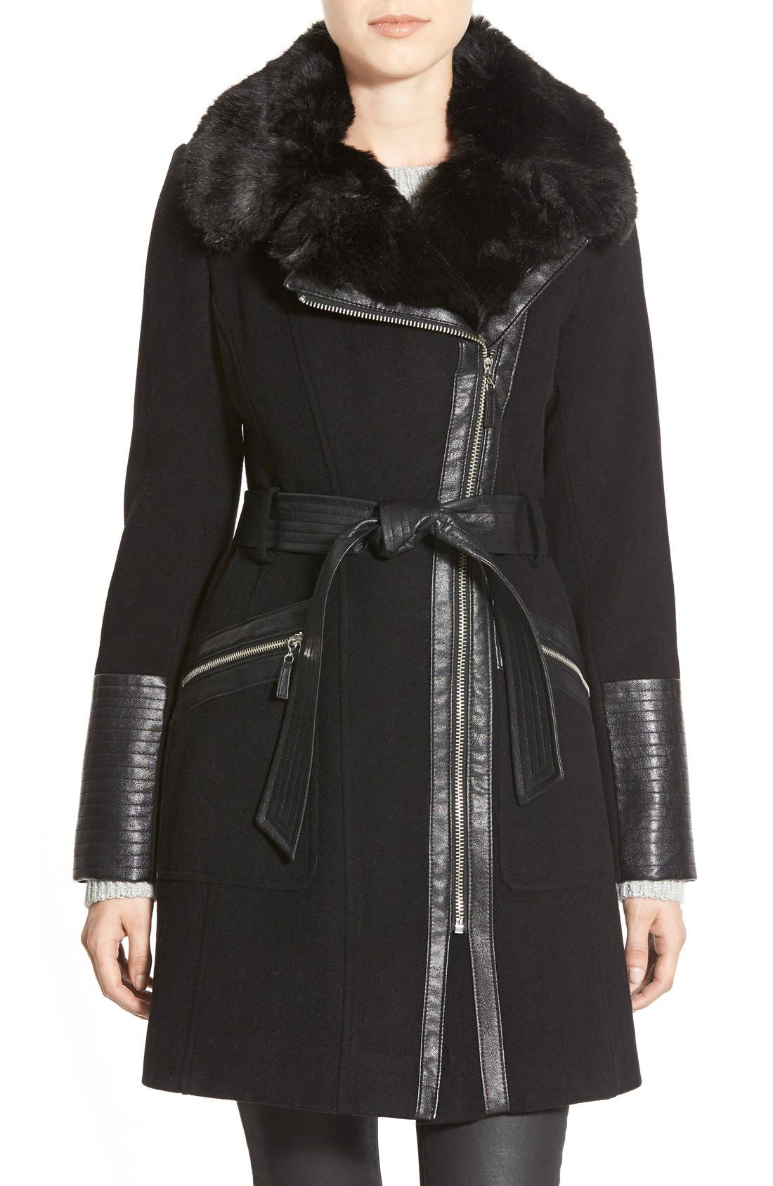 Faux Leather & Faux Fur Trim Belted Wool Blend Coat,                             Main thumbnail 5, color,