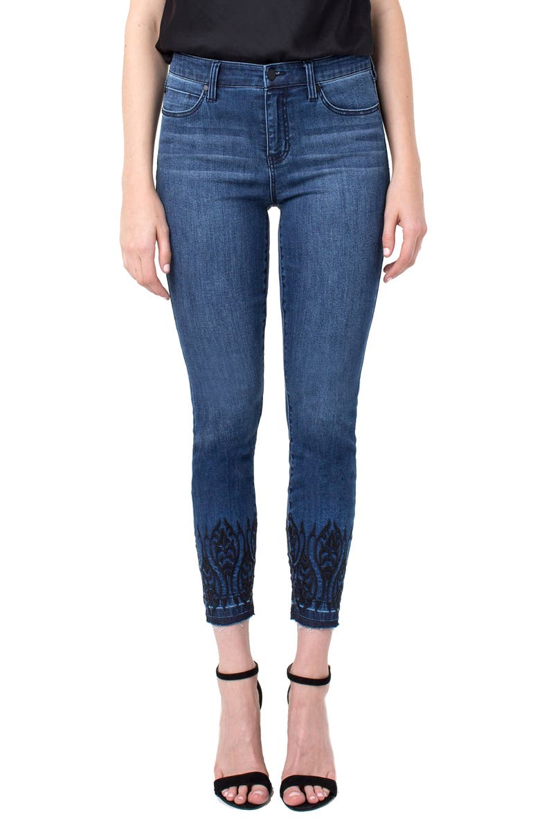 Liverpool ABBY ANKLE EMBROIDERY RELEASE HEM JEANS