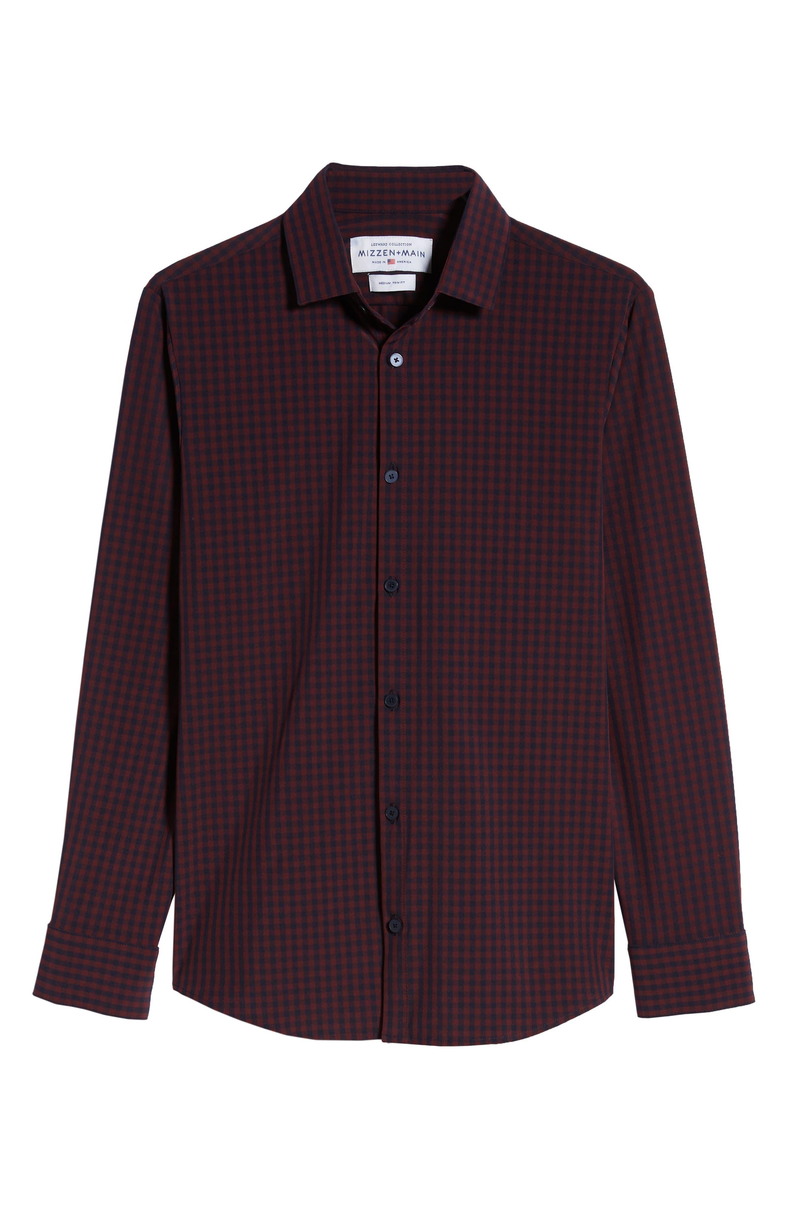 Marshall Check Sport Shirt,                             Alternate thumbnail 5, color,                             BURGUNDY