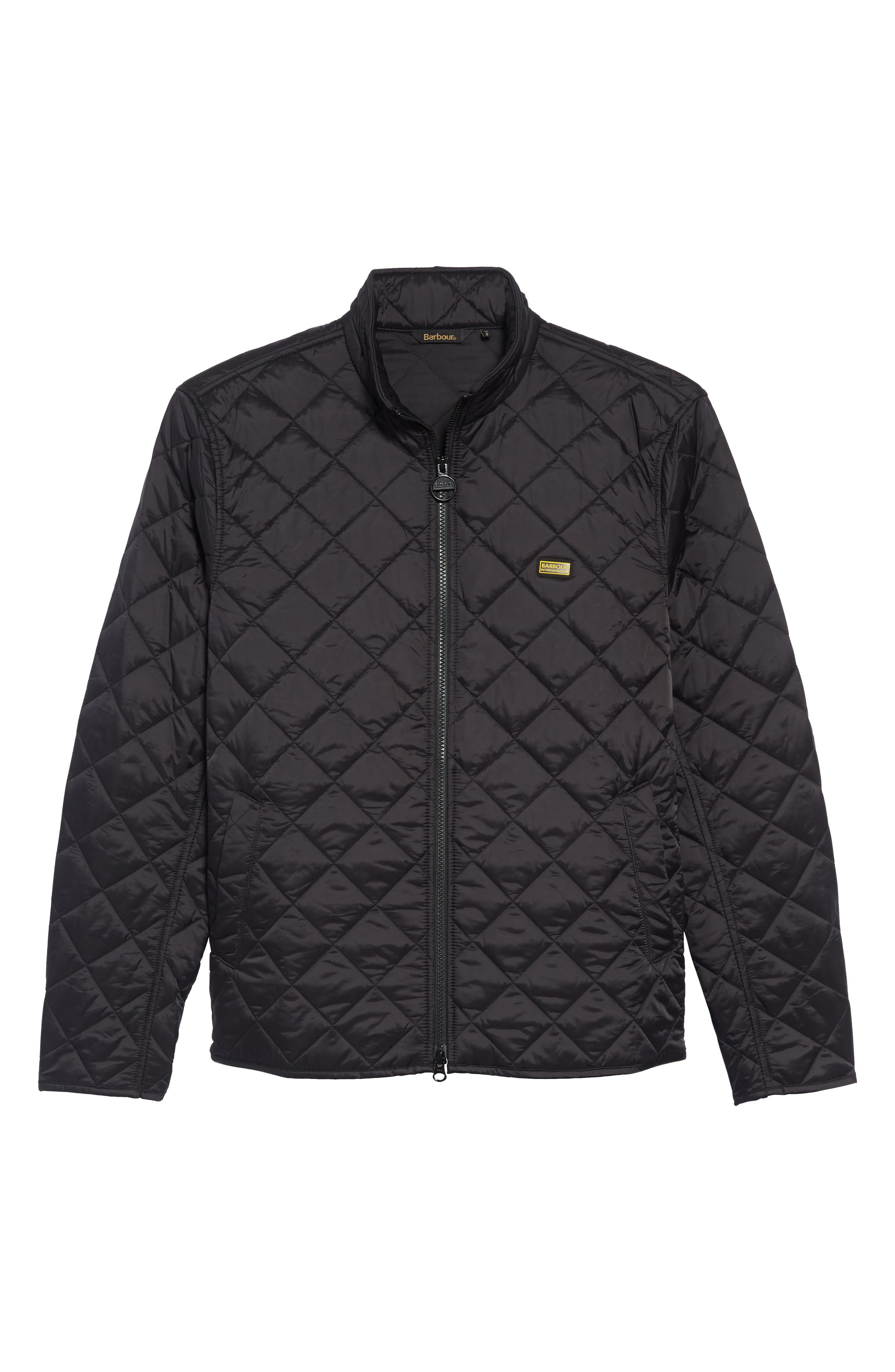 BARBOUR,                             Gear Quilted Jacket,                             Alternate thumbnail 6, color,                             BLACK