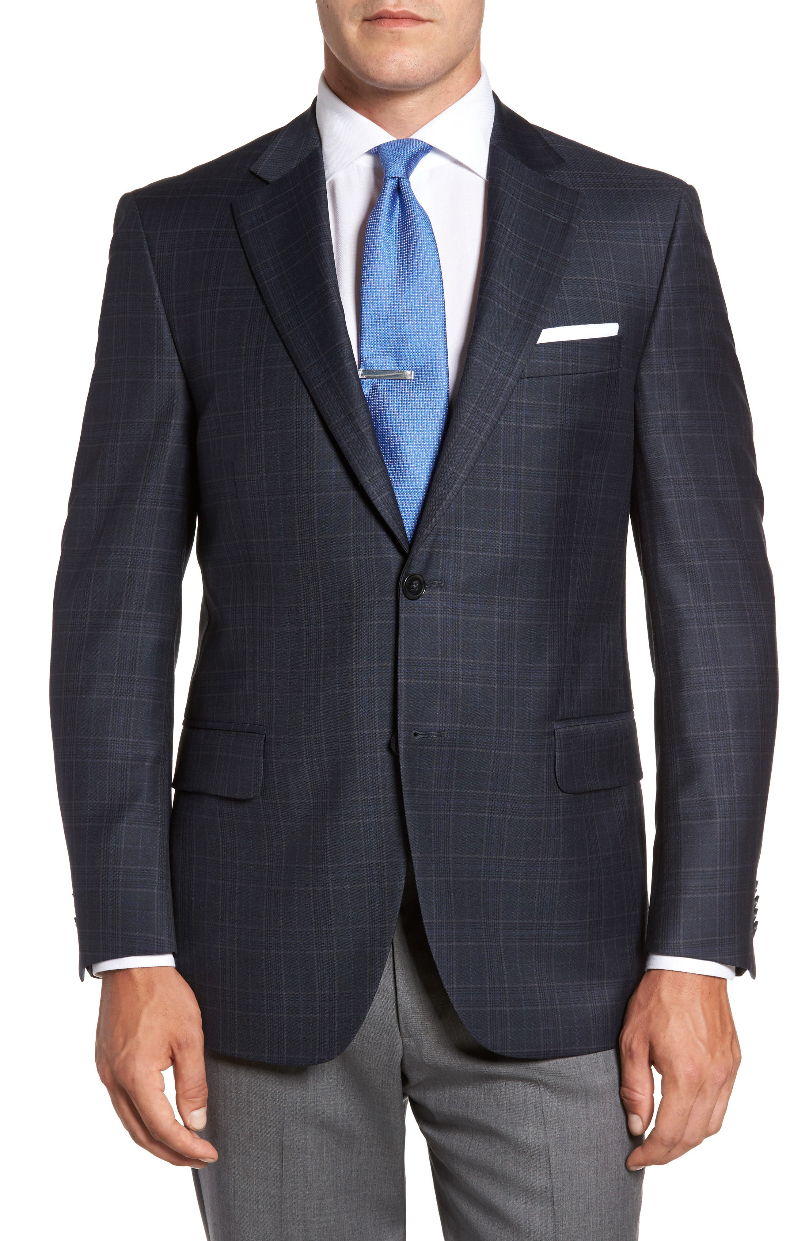 Flynn Classic Fit Plaid Wool Sport Coat,                         Main,                         color, 410