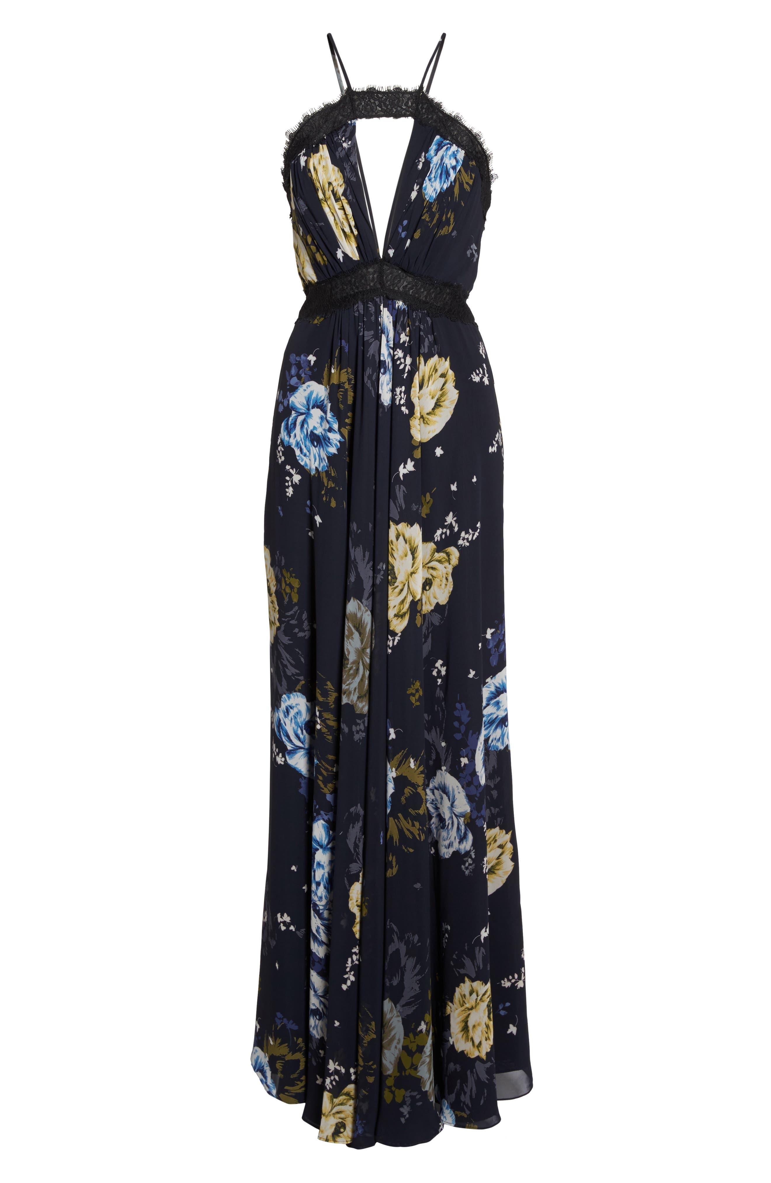 Lace Trim Cutout Gown,                             Alternate thumbnail 6, color,
