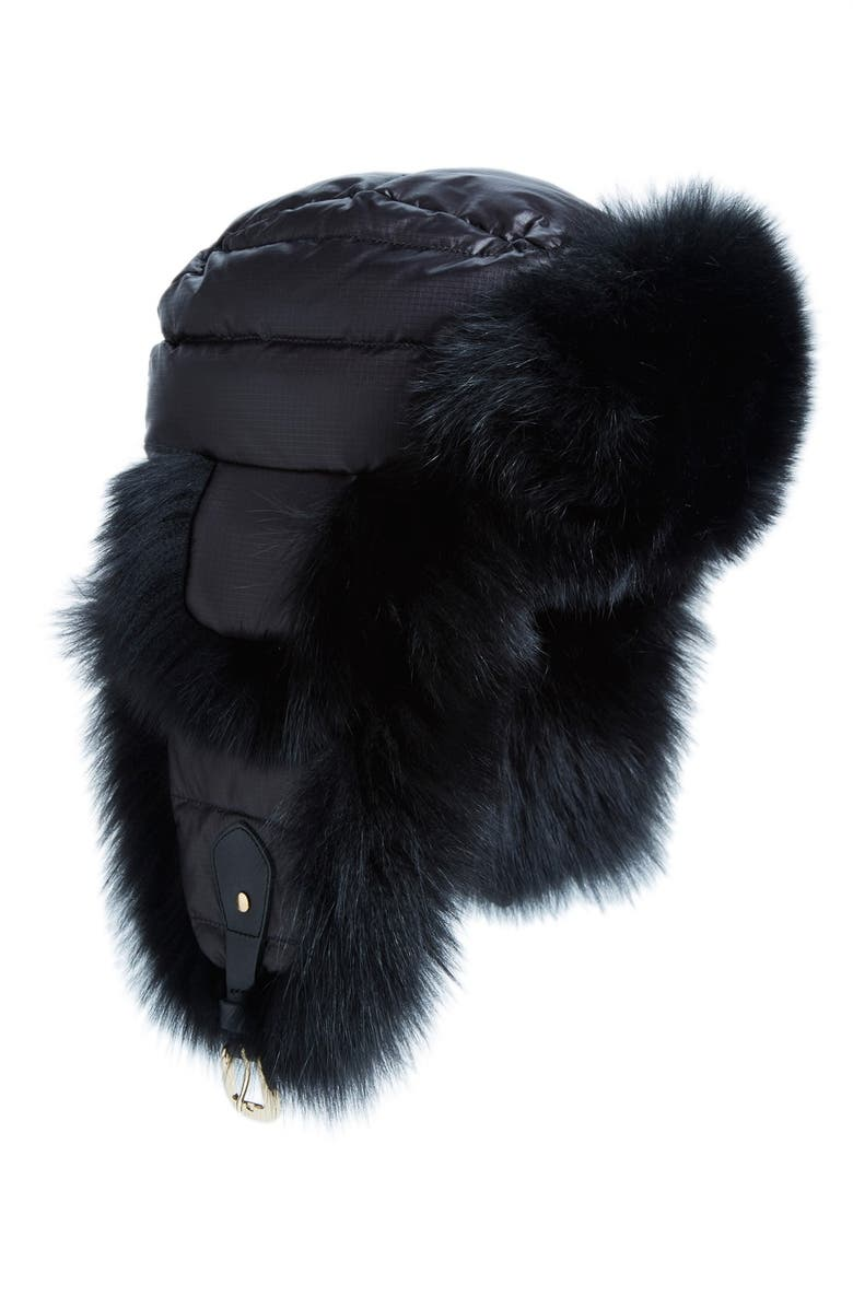 08173dac790 Tasha Tarno Nylon   Genuine Fox Fur Trapper Hat